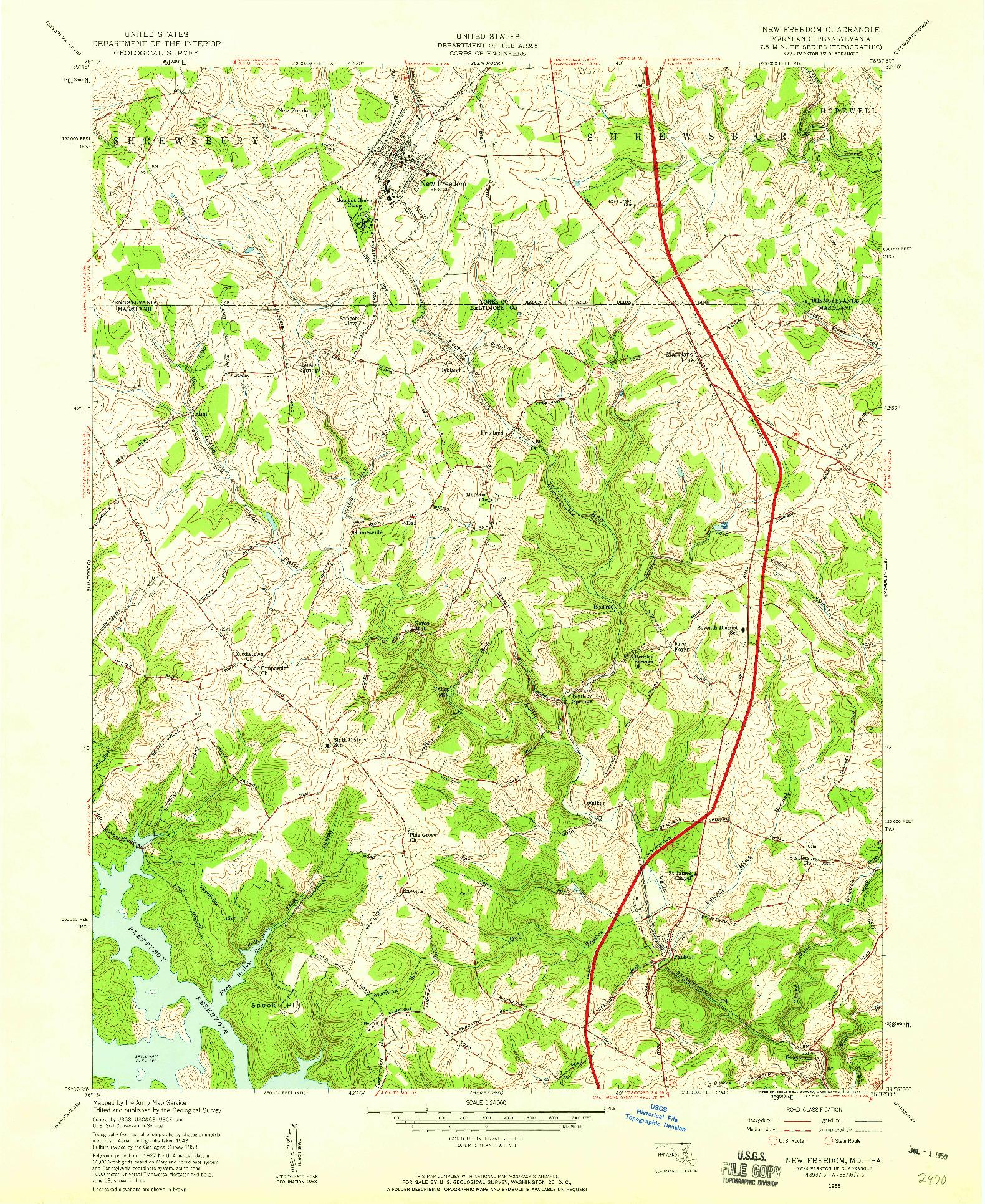 USGS 1:24000-SCALE QUADRANGLE FOR NEW FREEDOM, MD 1958