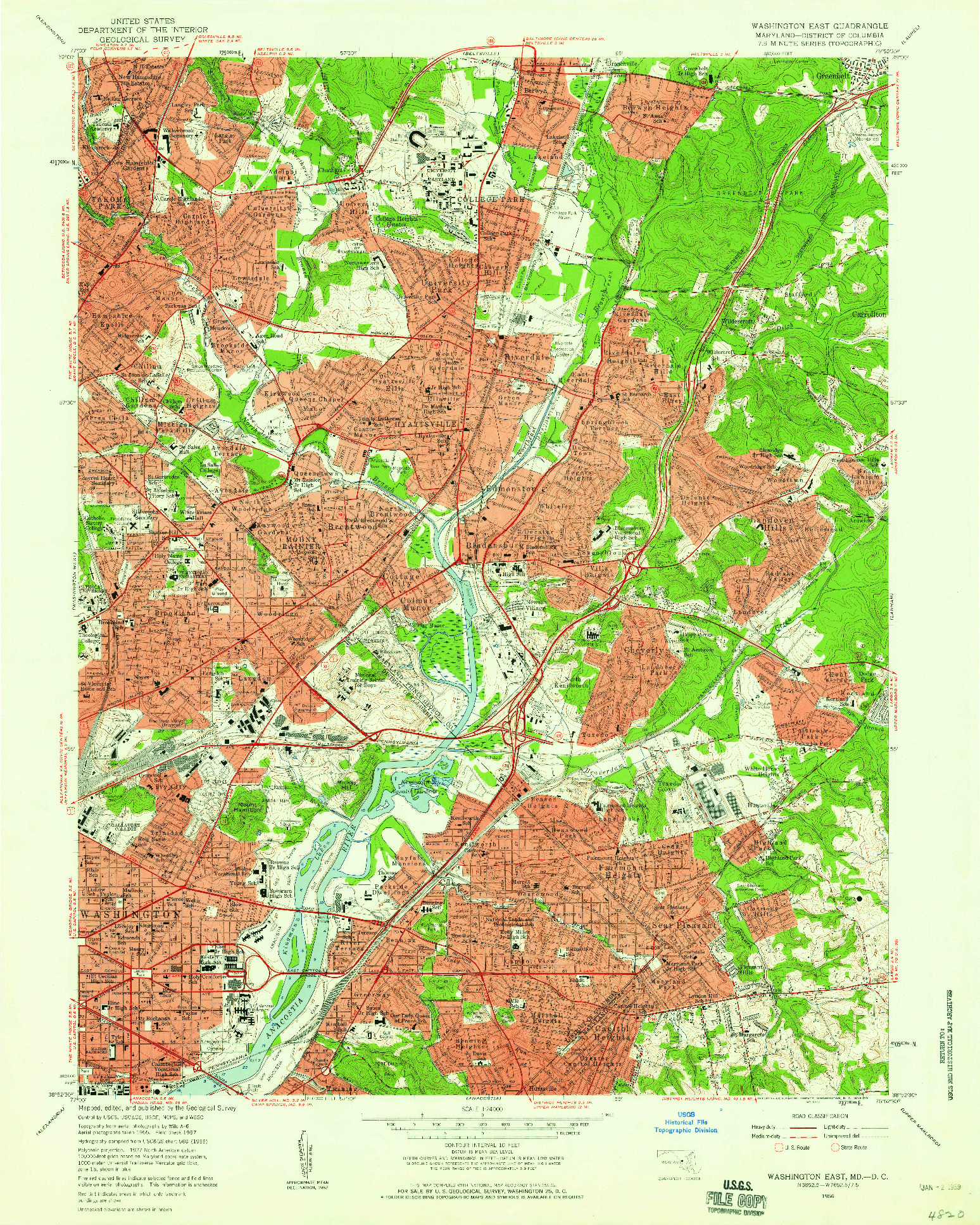 USGS 1:24000-SCALE QUADRANGLE FOR WASHINGTON EAST, MD 1956