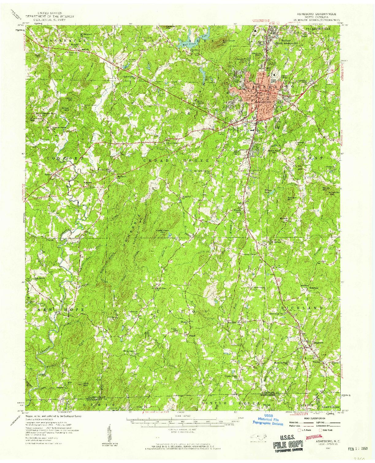 USGS 1:62500-SCALE QUADRANGLE FOR ASHEBORO, NC 1957