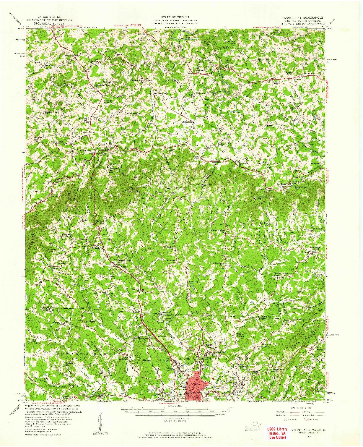 USGS 1:62500-SCALE QUADRANGLE FOR MOUNT AIRY, NC 1957