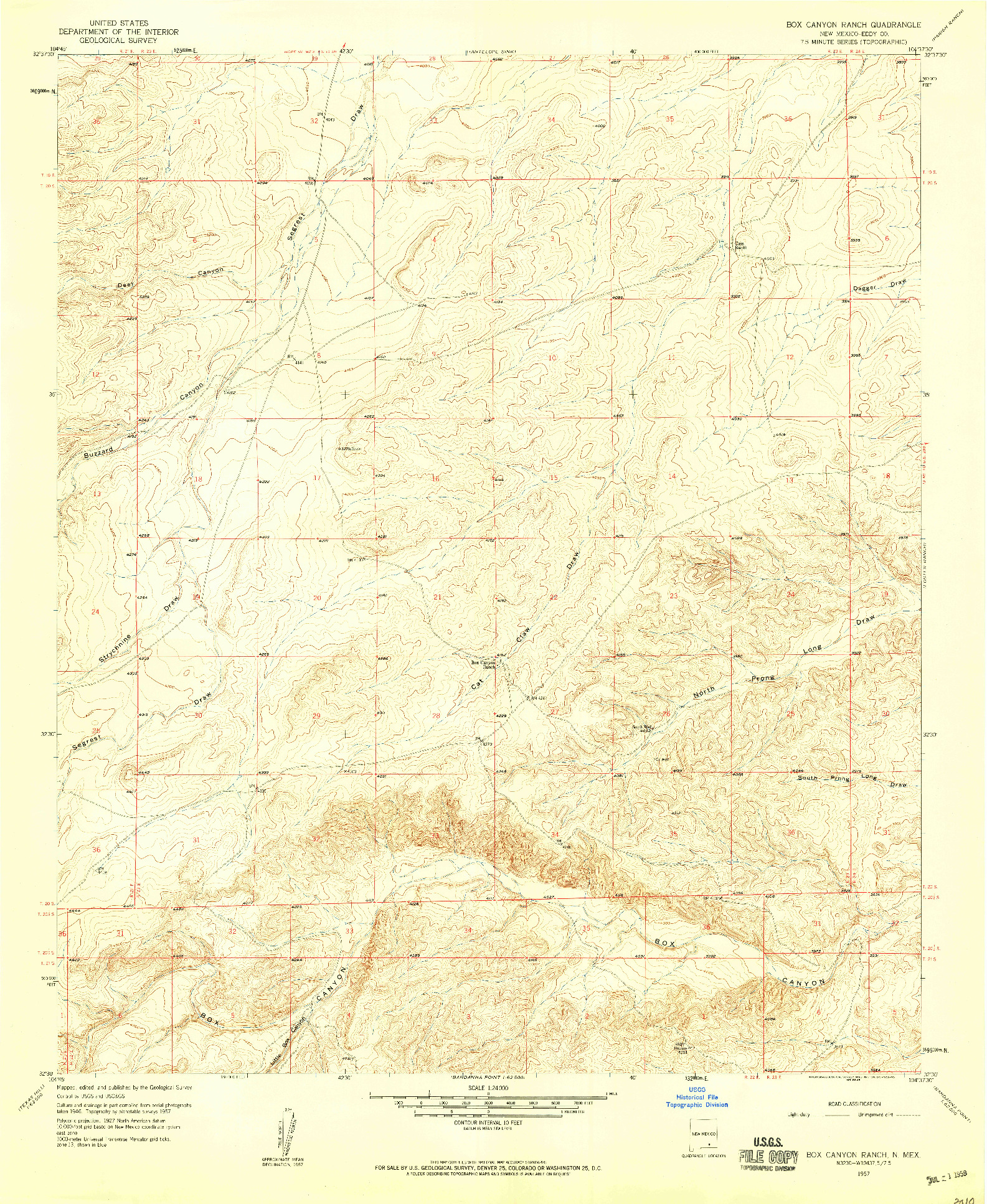 USGS 1:24000-SCALE QUADRANGLE FOR BOX CANYON RANCH, NM 1957