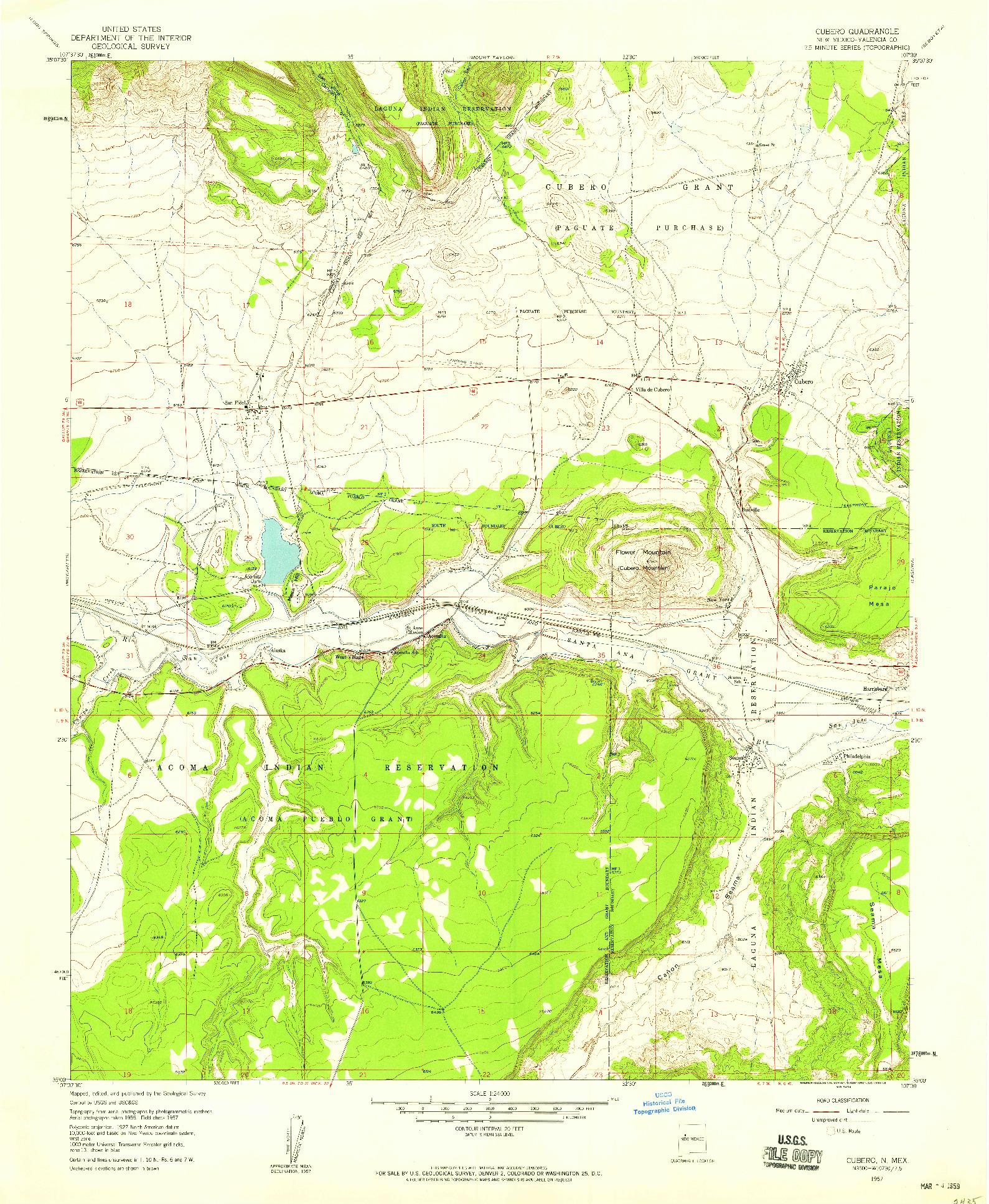 USGS 1:24000-SCALE QUADRANGLE FOR CUBERO, NM 1957