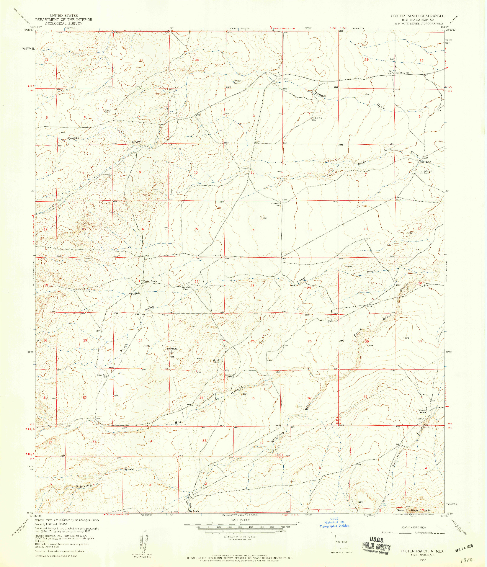 USGS 1:24000-SCALE QUADRANGLE FOR FOSTER RANCH, NM 1957