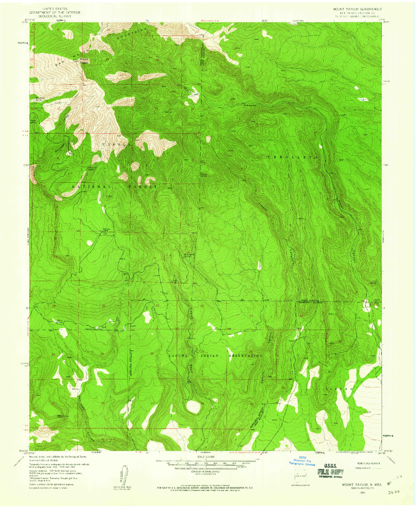 USGS 1:24000-SCALE QUADRANGLE FOR MOUNT TAYLOR, NM 1957