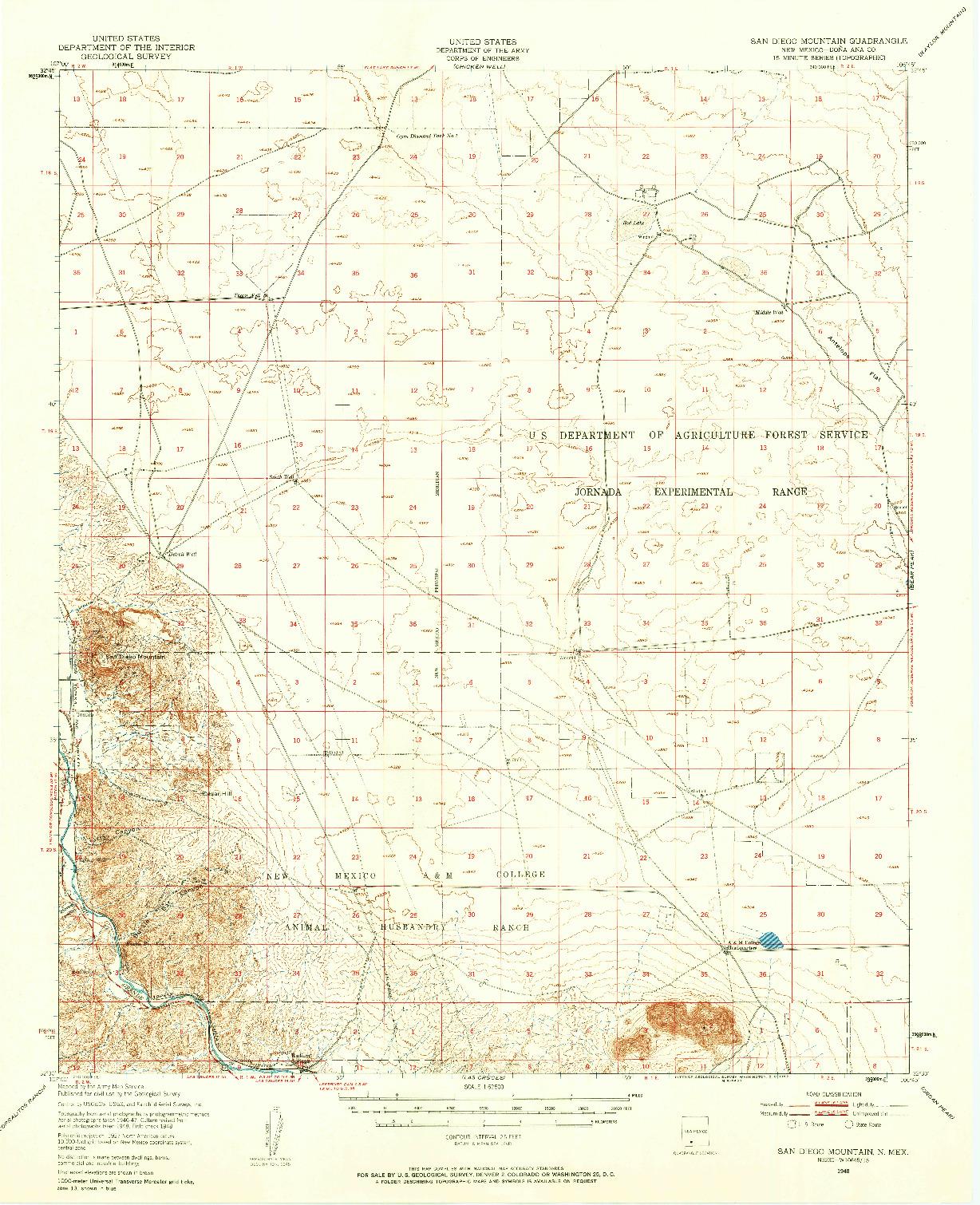 USGS 1:62500-SCALE QUADRANGLE FOR SAN DIEGO MOUNTAIN, NM 1948