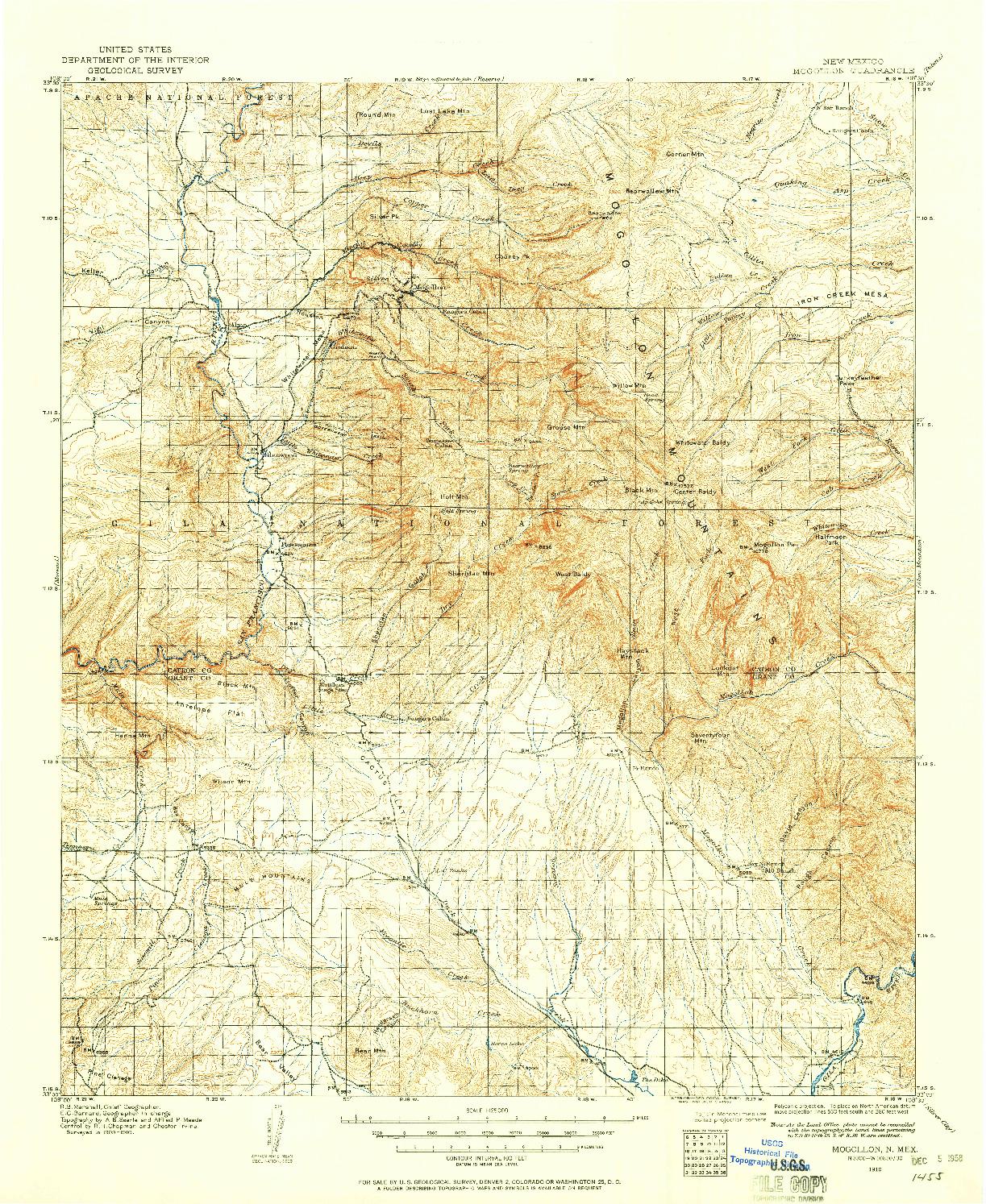 USGS 1:125000-SCALE QUADRANGLE FOR MOGOLLON, NM 1910