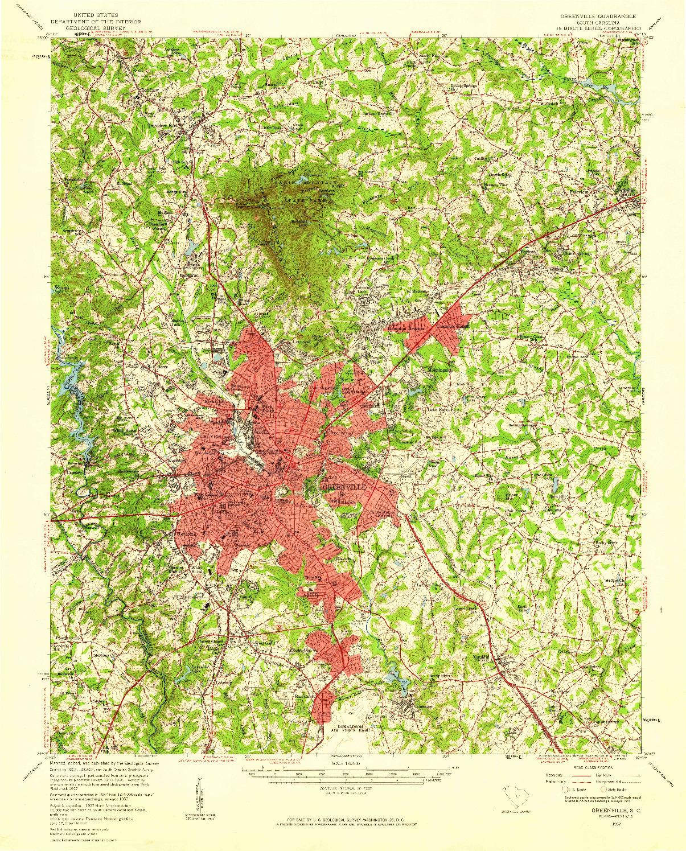 USGS 1:62500-SCALE QUADRANGLE FOR GREENVILLE, SC 1957