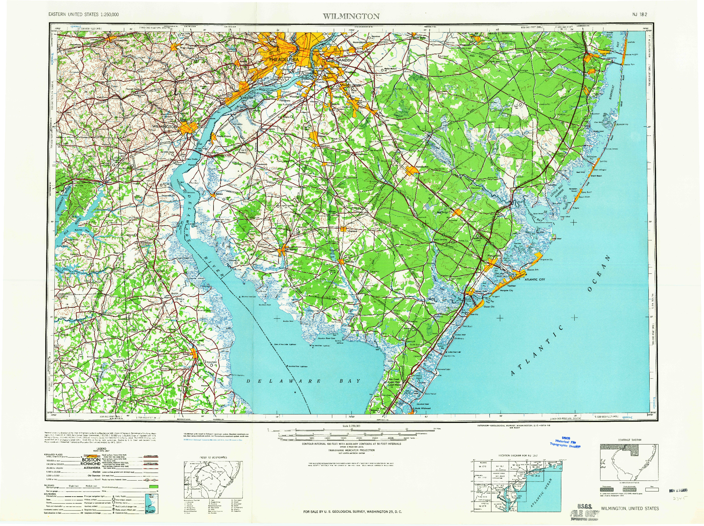 USGS 1:250000-SCALE QUADRANGLE FOR WILMINGTON, DE 1959