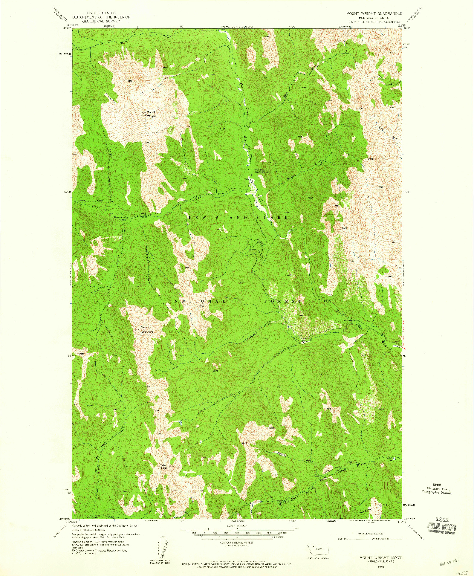 USGS 1:24000-SCALE QUADRANGLE FOR MOUNT WRIGHT, MT 1958