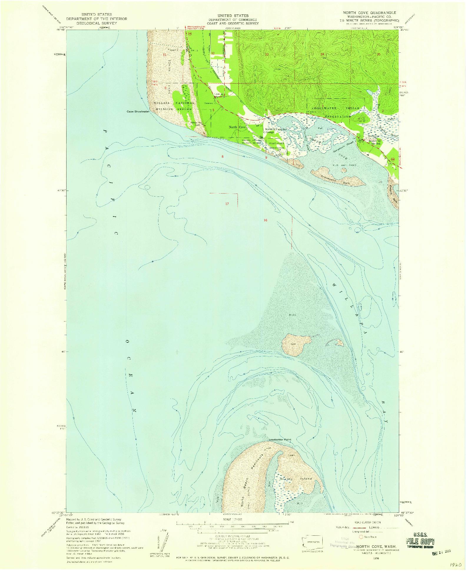USGS 1:24000-SCALE QUADRANGLE FOR NORTH COVE, WA 1956