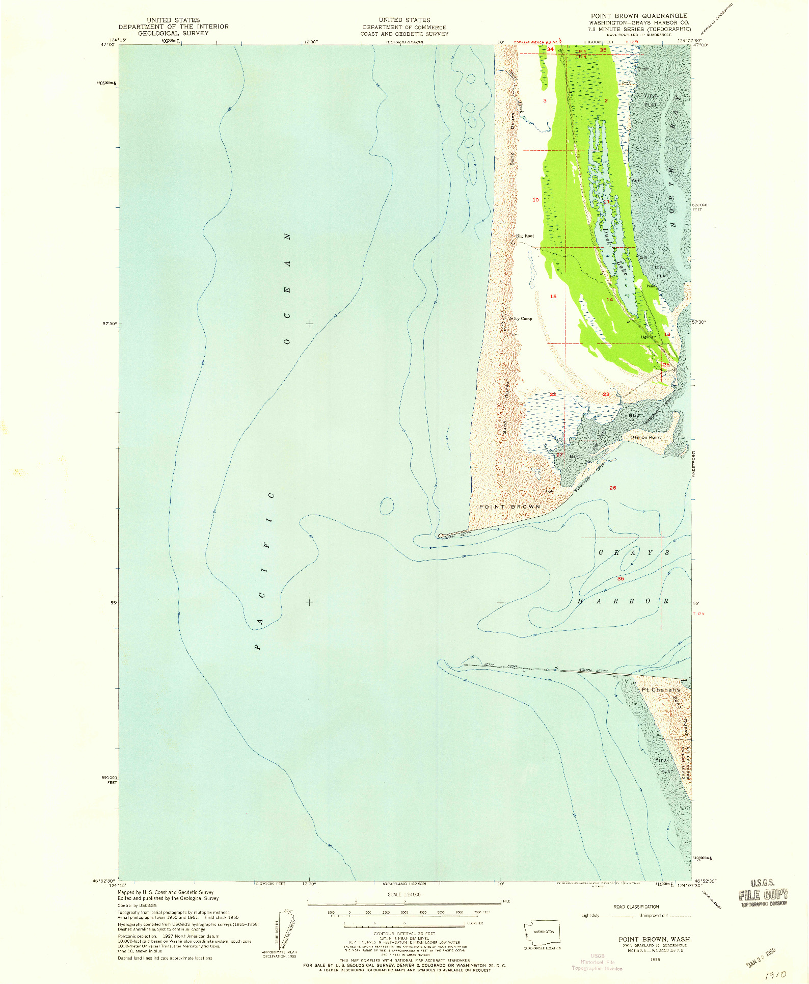 USGS 1:24000-SCALE QUADRANGLE FOR POINT BROWN, WA 1955