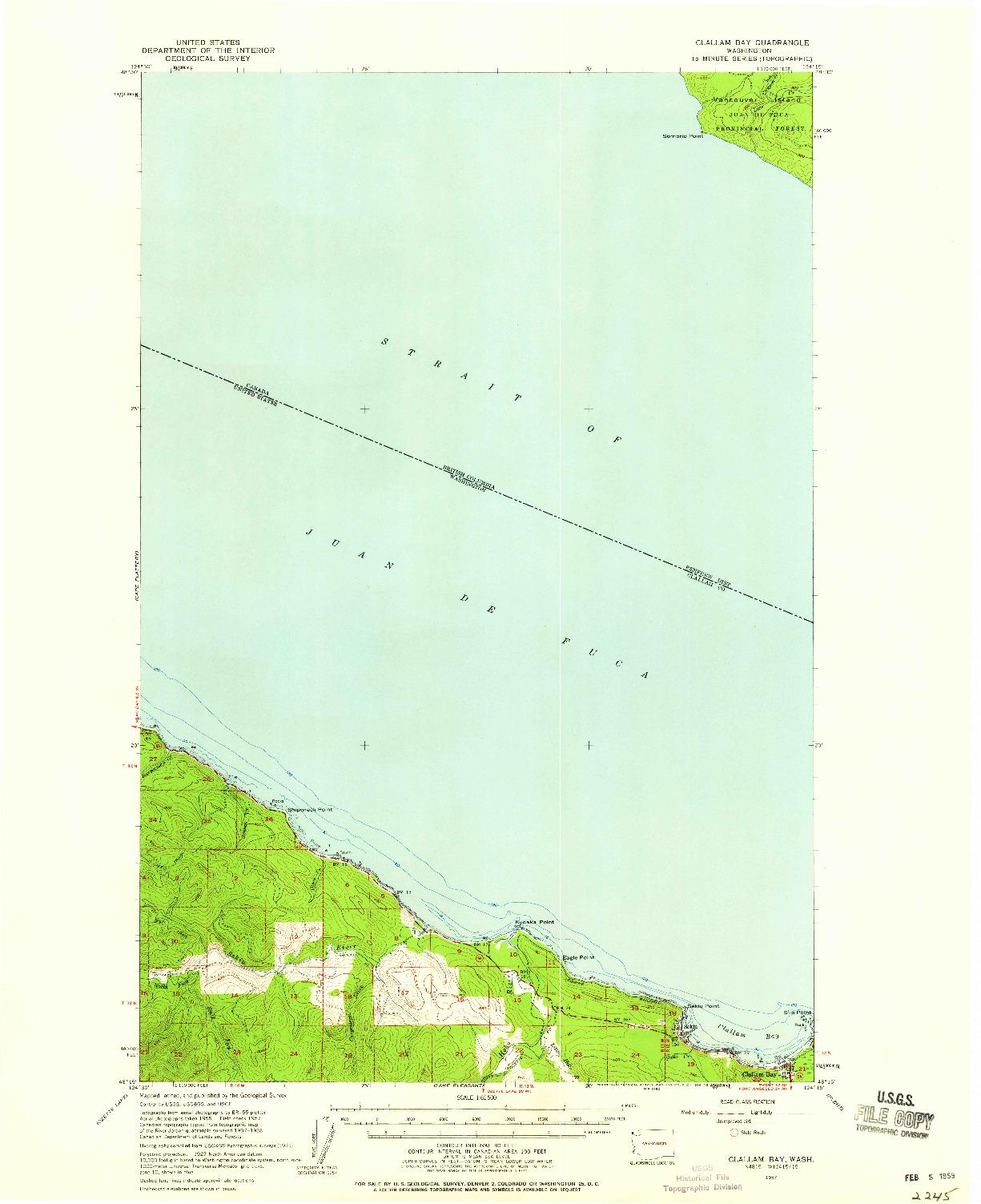 USGS 1:62500-SCALE QUADRANGLE FOR CLALLAM BAY, WA 1957