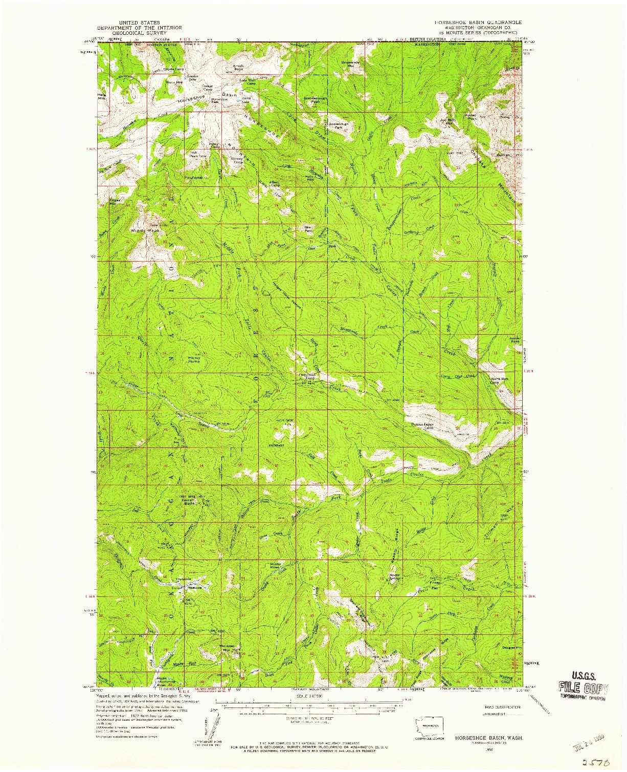 USGS 1:62500-SCALE QUADRANGLE FOR HORSESHOE BASIN, WA 1956