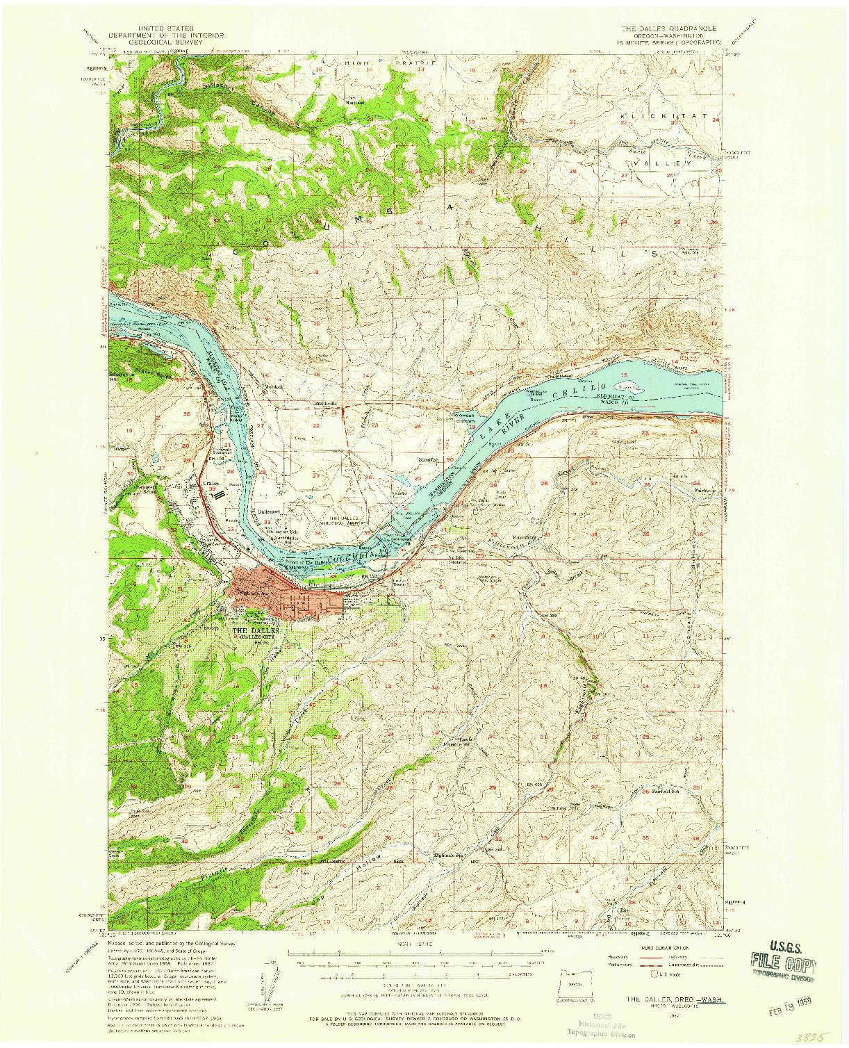 USGS 1:62500-SCALE QUADRANGLE FOR THE DALLES, WA 1957