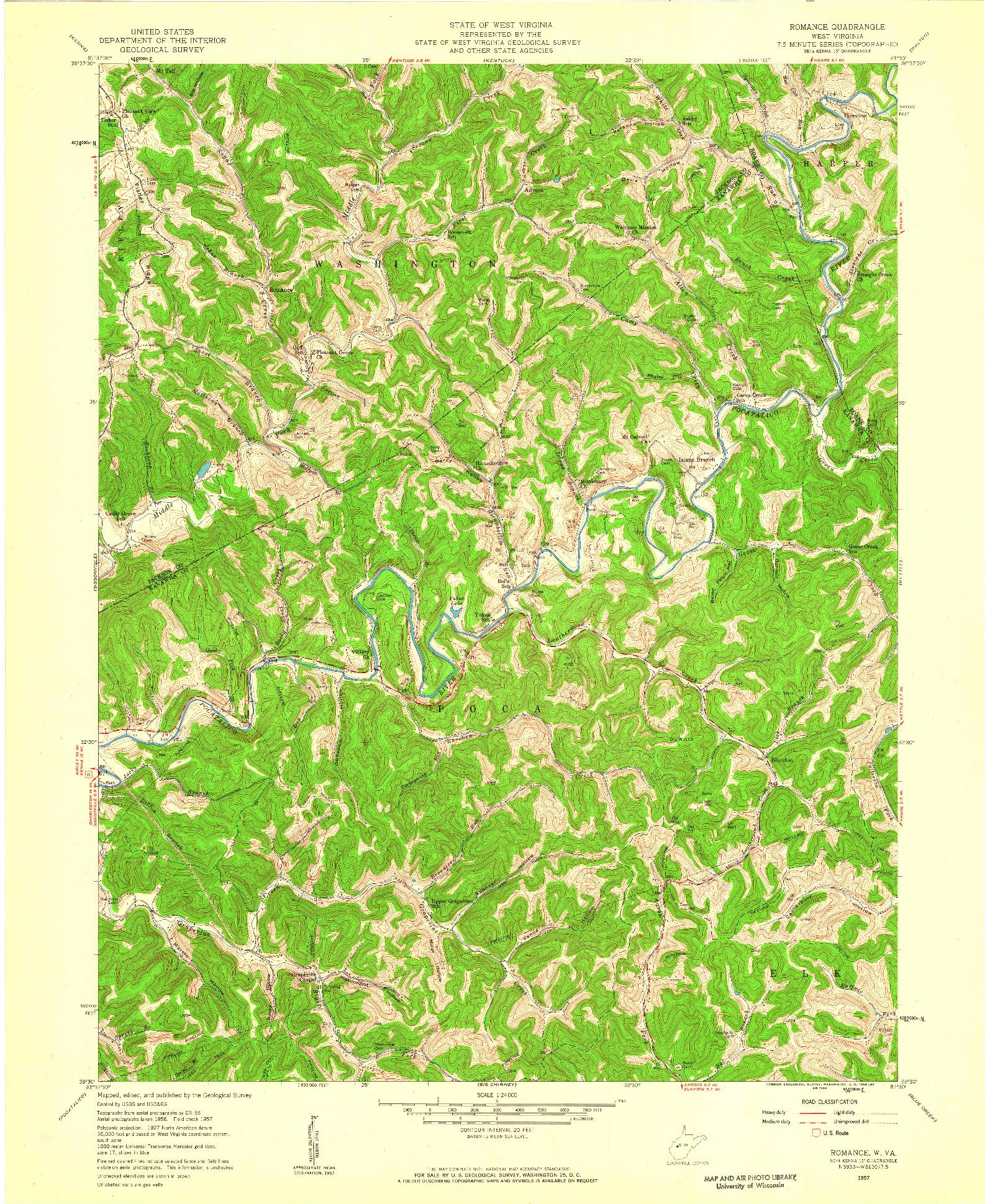 USGS 1:24000-SCALE QUADRANGLE FOR ROMANCE, WV 1957