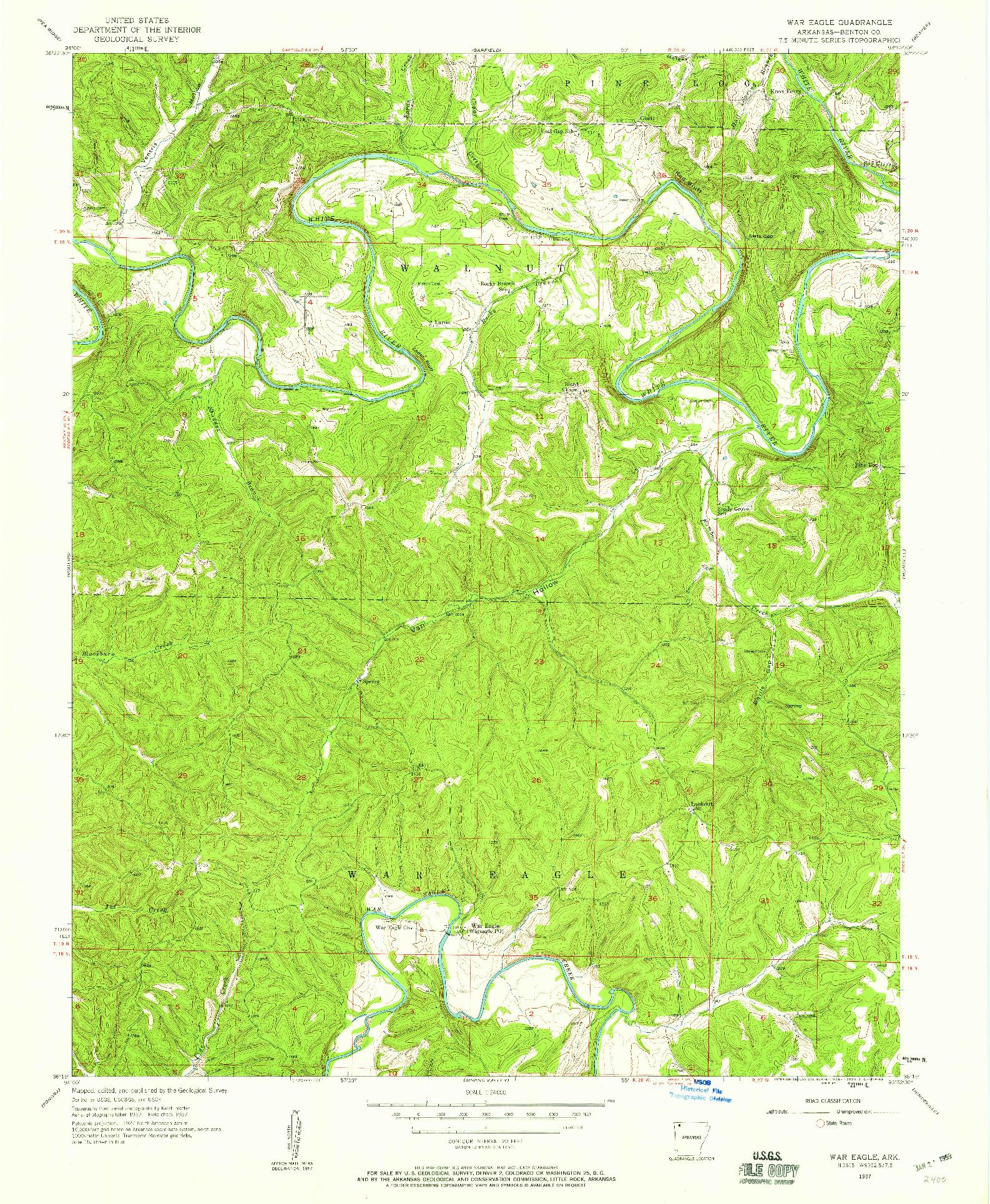 USGS 1:24000-SCALE QUADRANGLE FOR WAR EAGLE, AR 1957