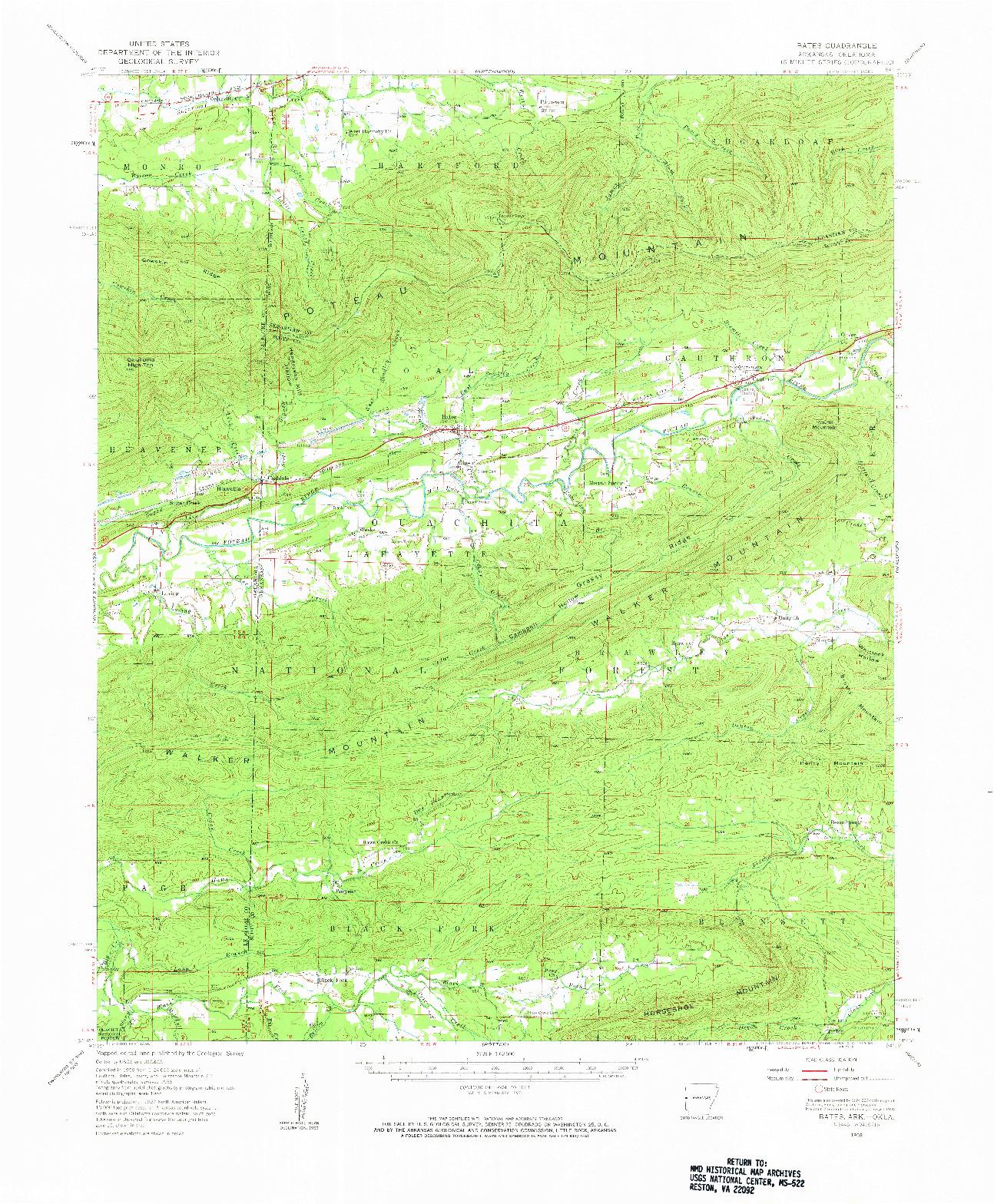 USGS 1:62500-SCALE QUADRANGLE FOR BATES, AR 1958