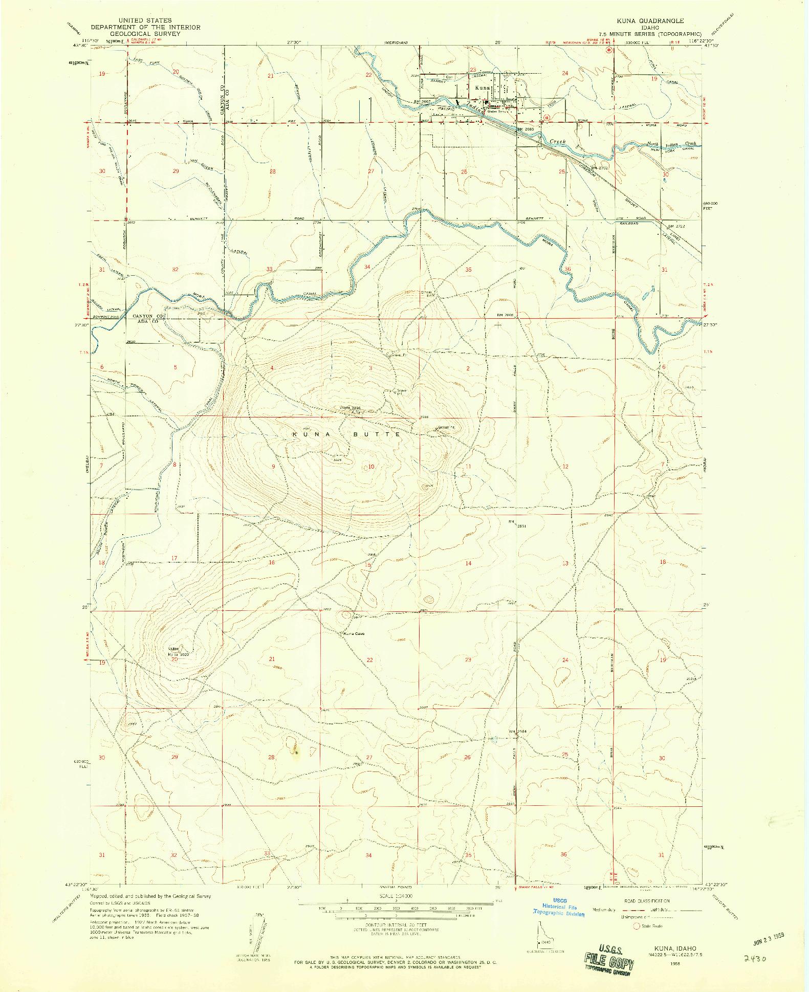 USGS 1:24000-SCALE QUADRANGLE FOR KUNA, ID 1958