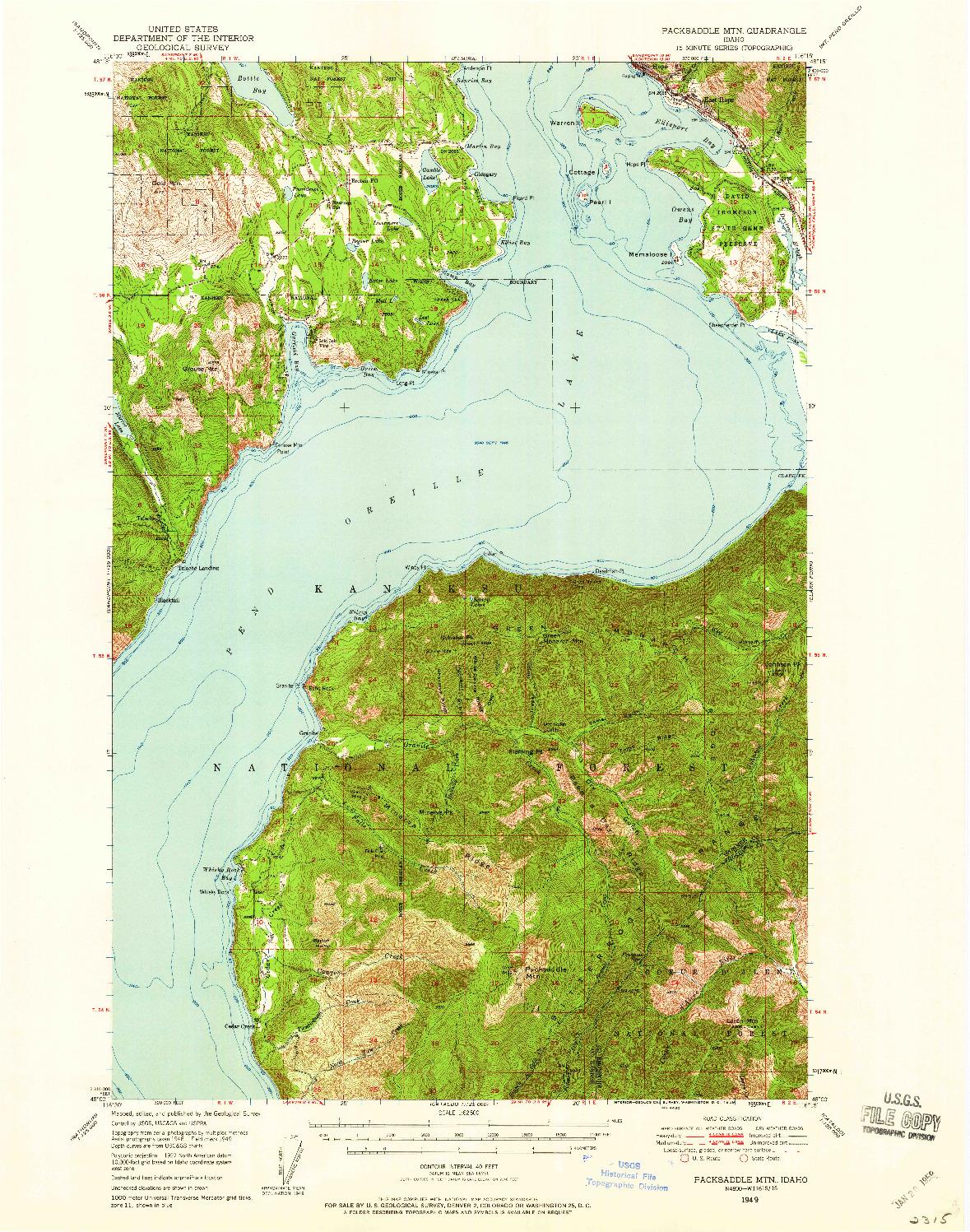 USGS 1:62500-SCALE QUADRANGLE FOR PACKSADDLE MTN, ID 1949