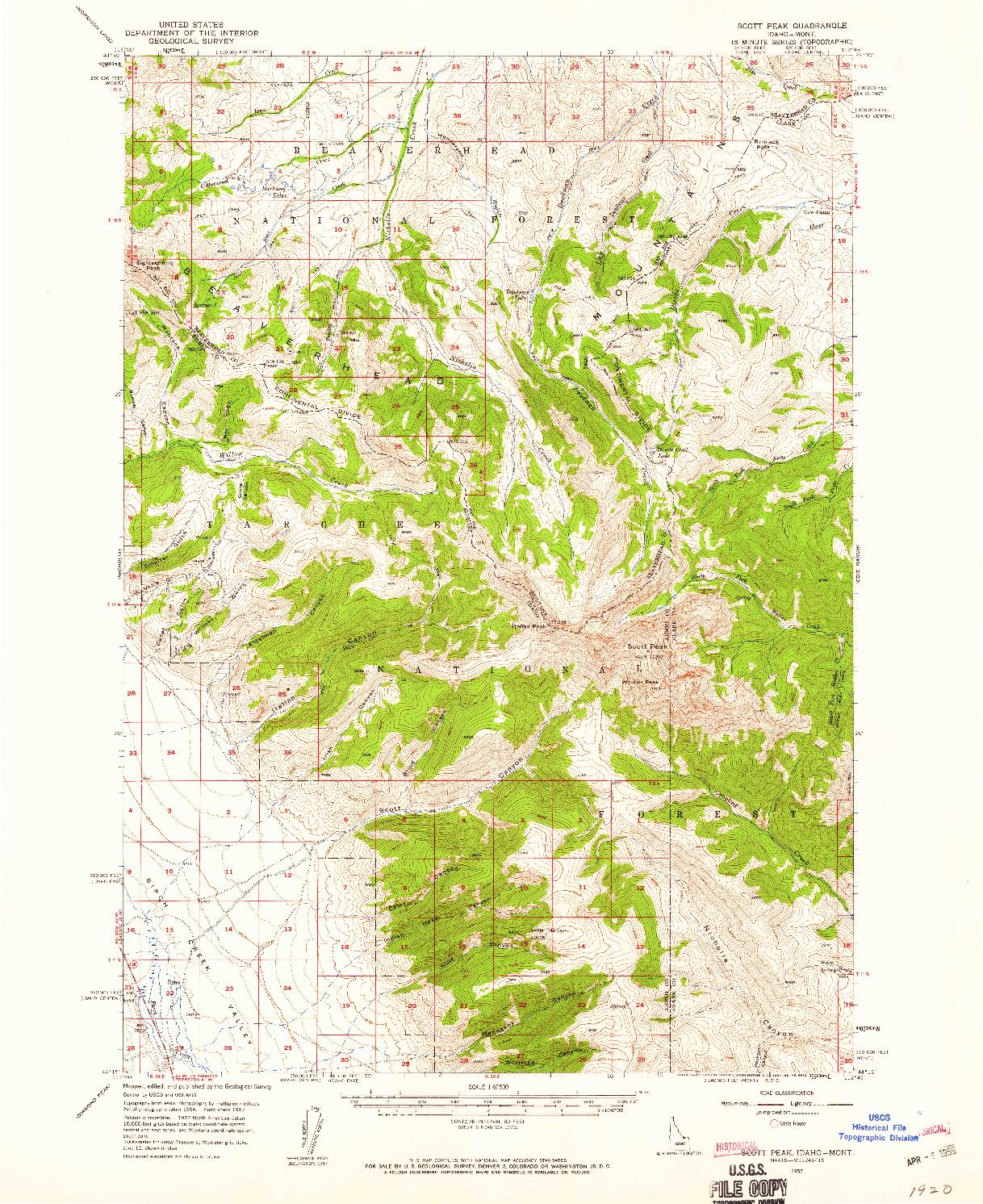 USGS 1:62500-SCALE QUADRANGLE FOR SCOTT PEAK, ID 1957