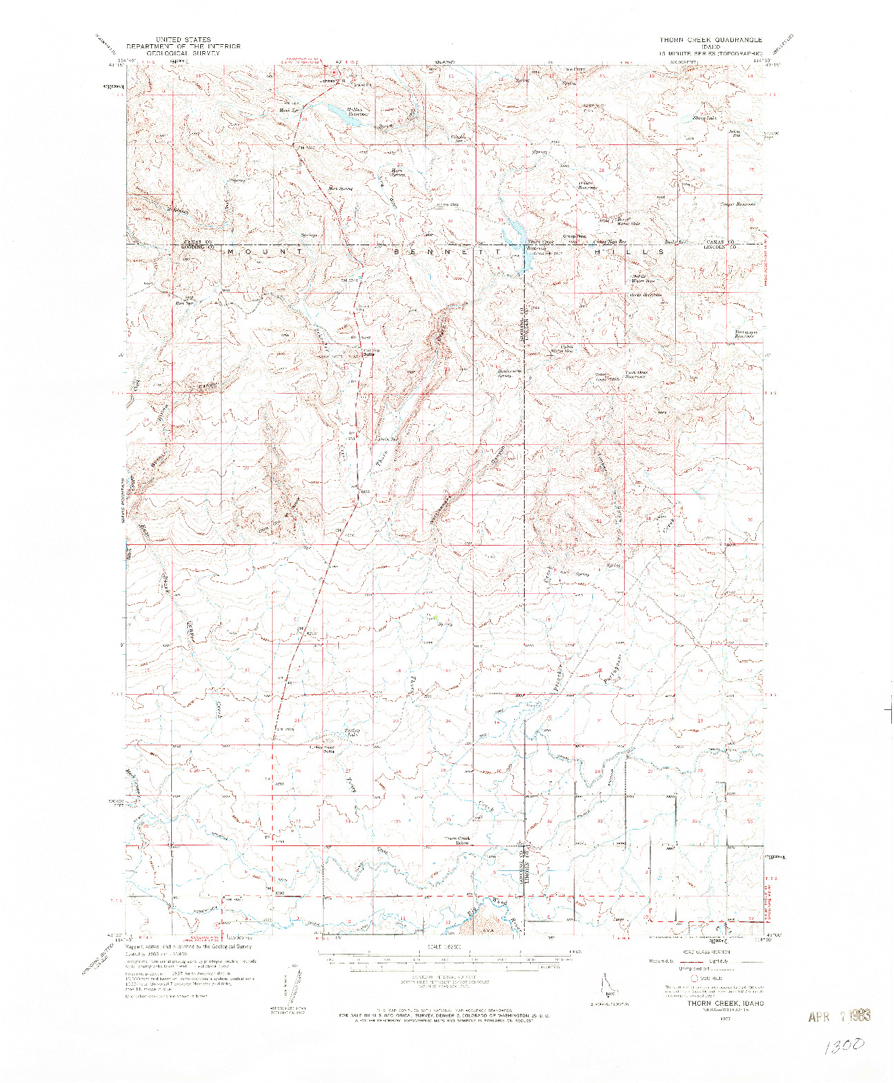 USGS 1:62500-SCALE QUADRANGLE FOR THORN CREEK, ID 1957