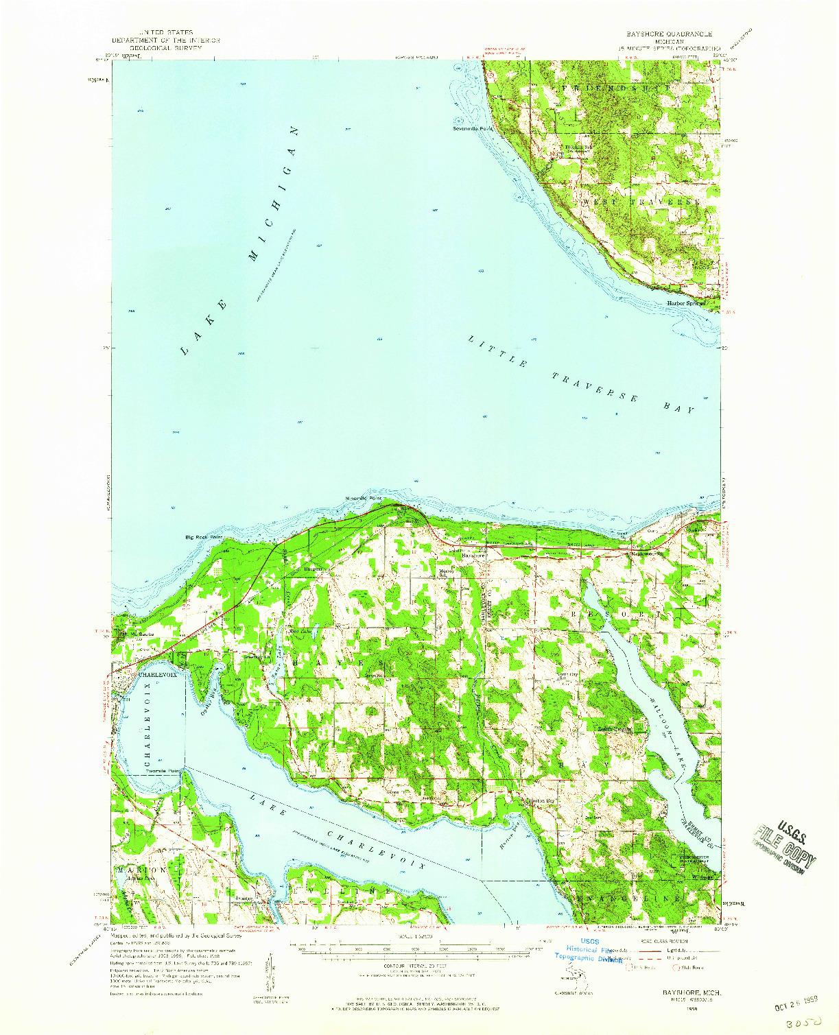 USGS 1:62500-SCALE QUADRANGLE FOR BAYSHORE, MI 1958