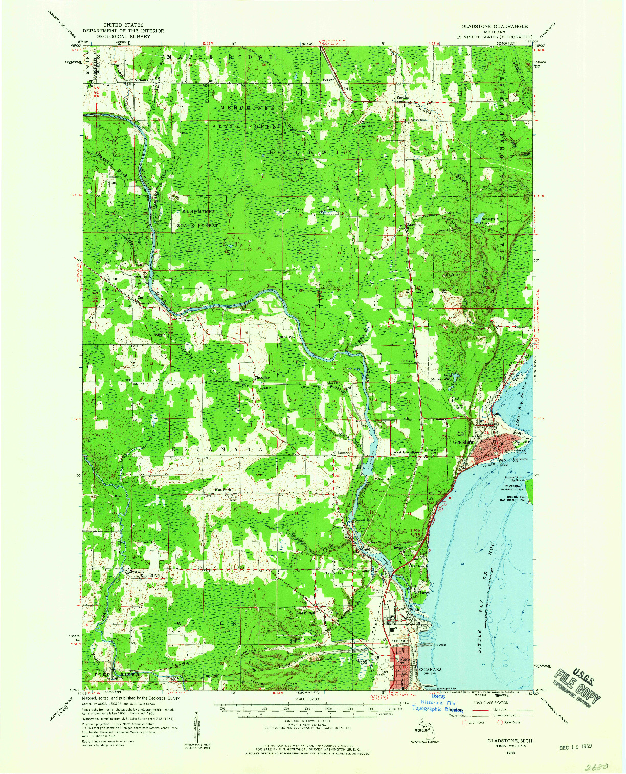 USGS 1:62500-SCALE QUADRANGLE FOR GLADSTONE, MI 1958