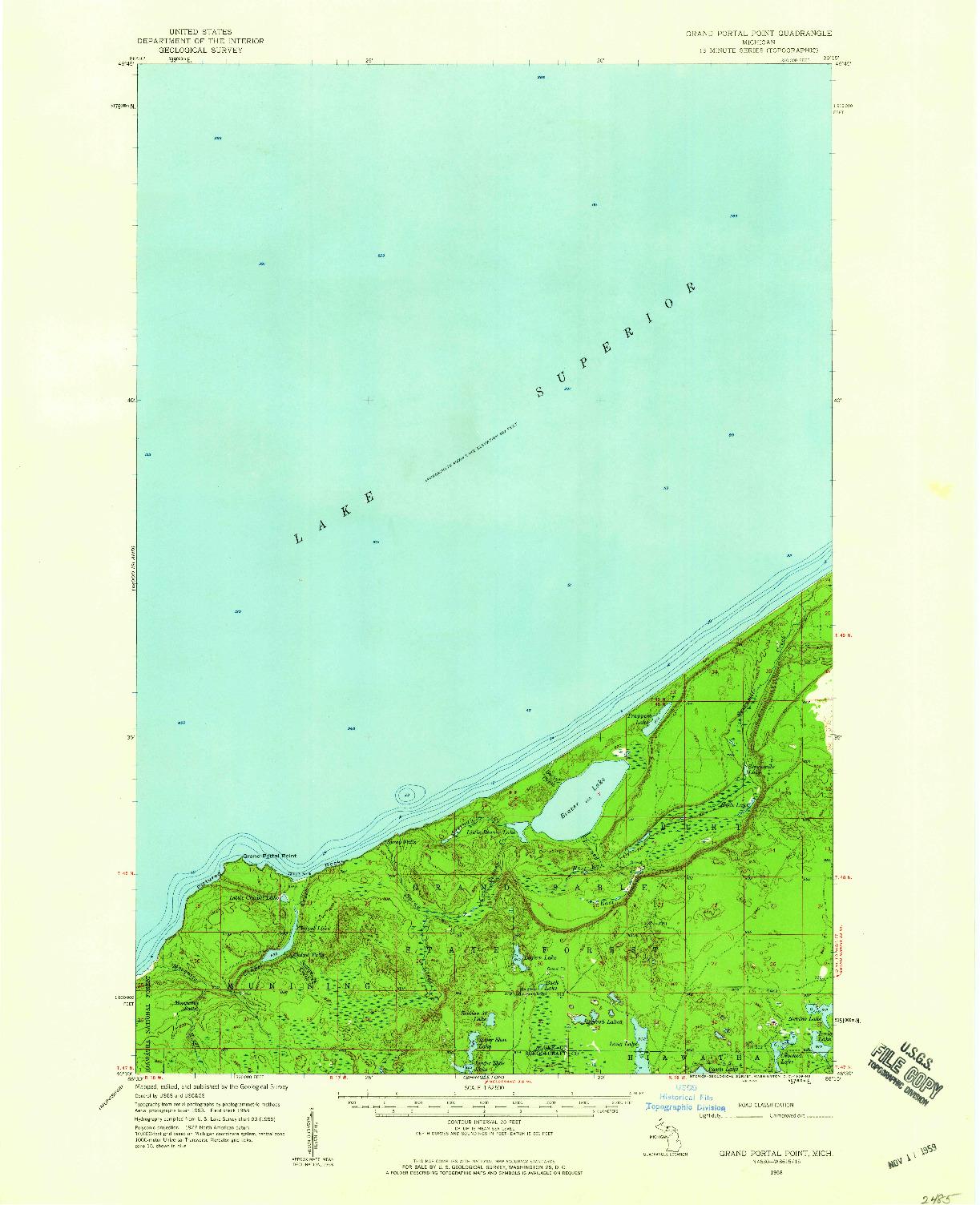 USGS 1:62500-SCALE QUADRANGLE FOR GRAND PORTAL POINT, MI 1958