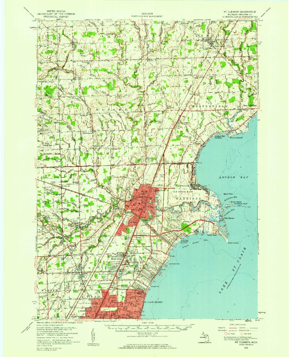 USGS 1:62500-SCALE QUADRANGLE FOR MT CLEMENS, MI 1952