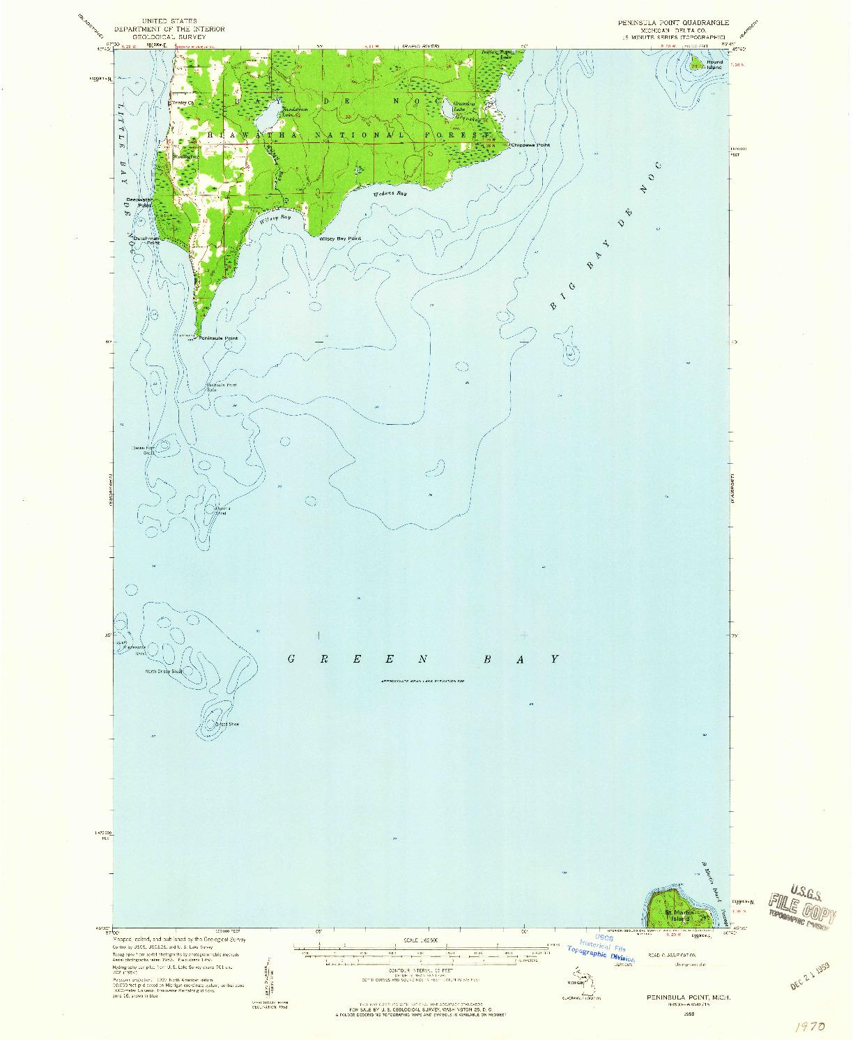 USGS 1:62500-SCALE QUADRANGLE FOR PENINSULA POINT, MI 1958