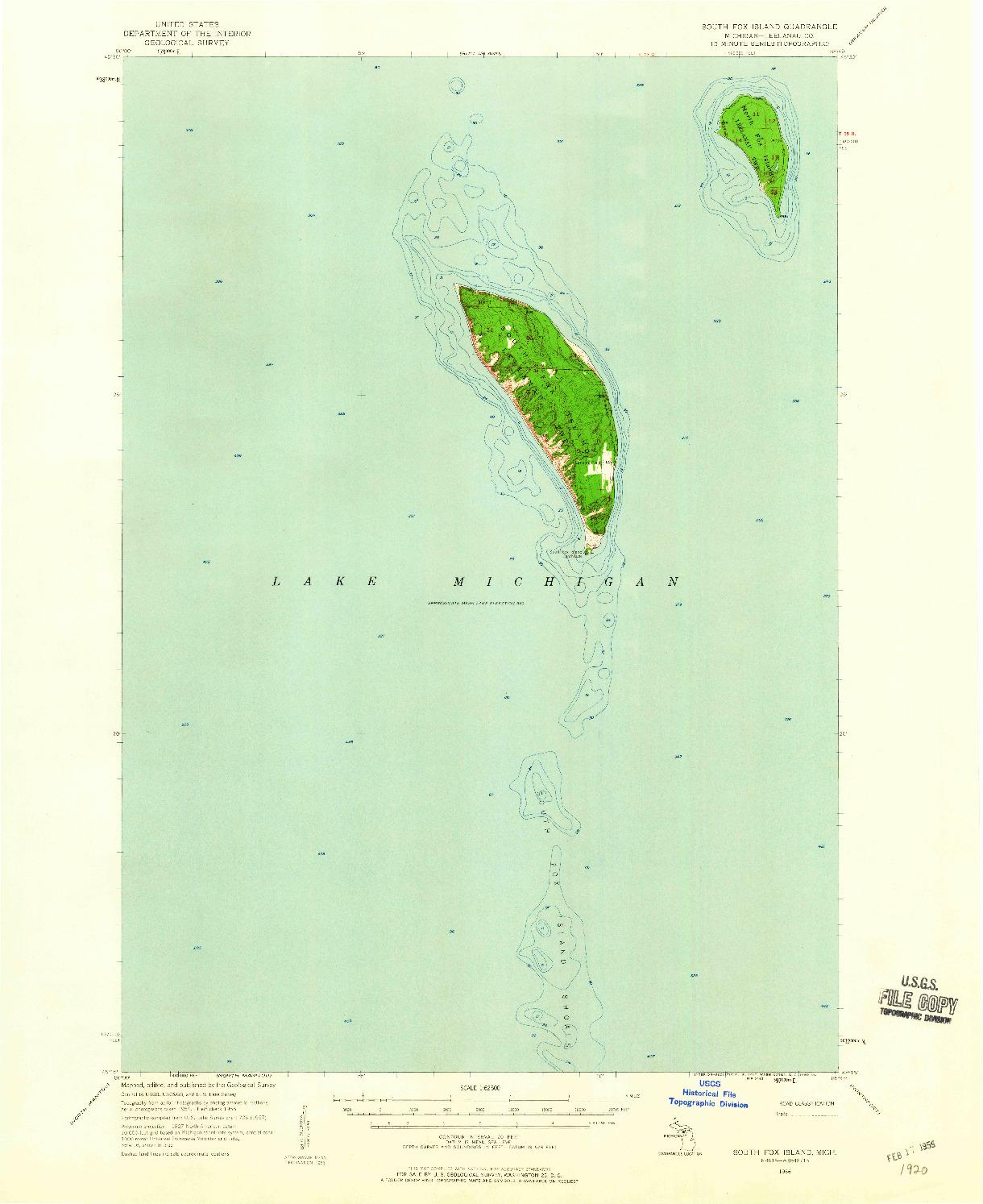 USGS 1:62500-SCALE QUADRANGLE FOR SOUTH FOX ISLAND, MI 1956