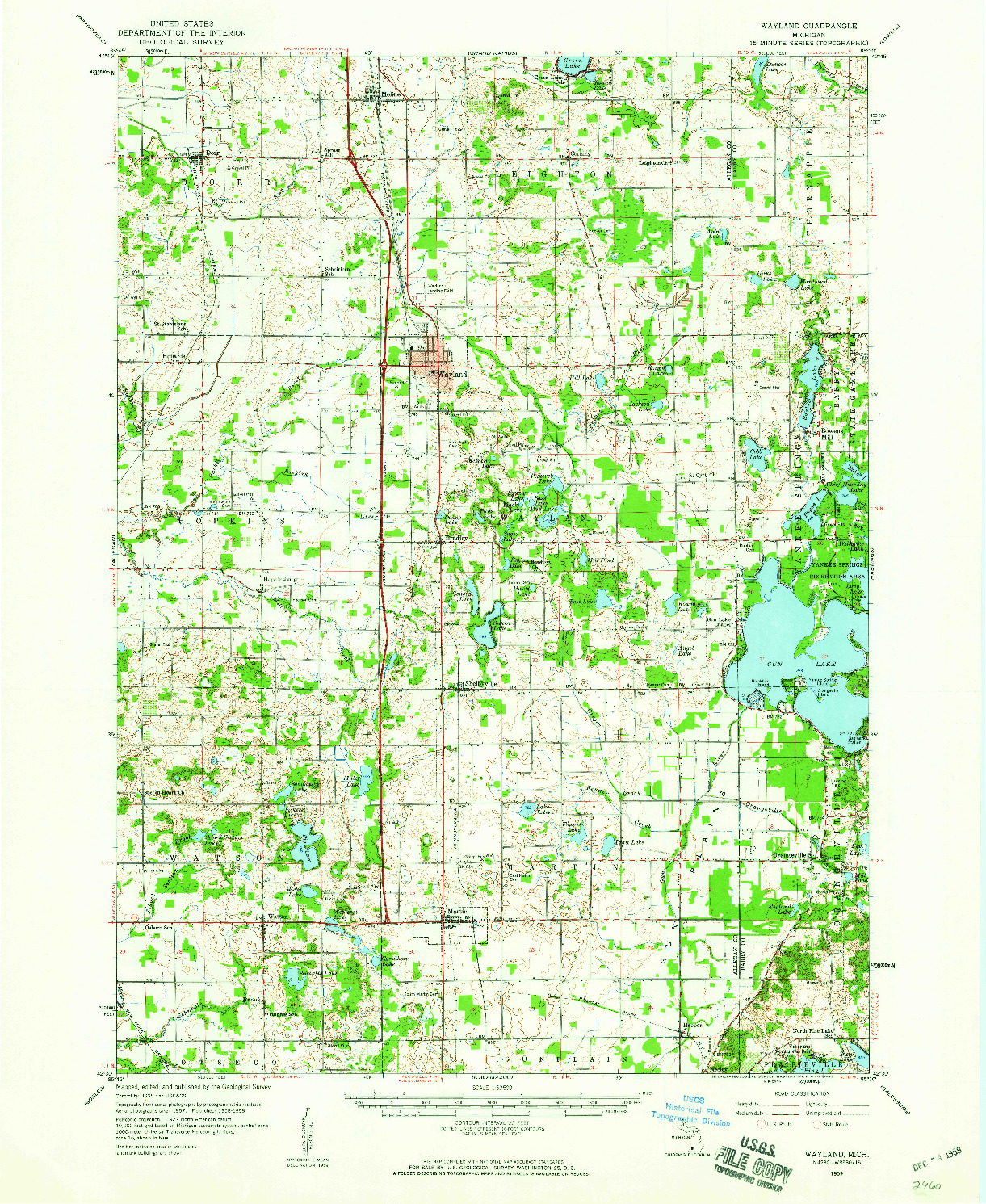 USGS 1:62500-SCALE QUADRANGLE FOR WAYLAND, MI 1959