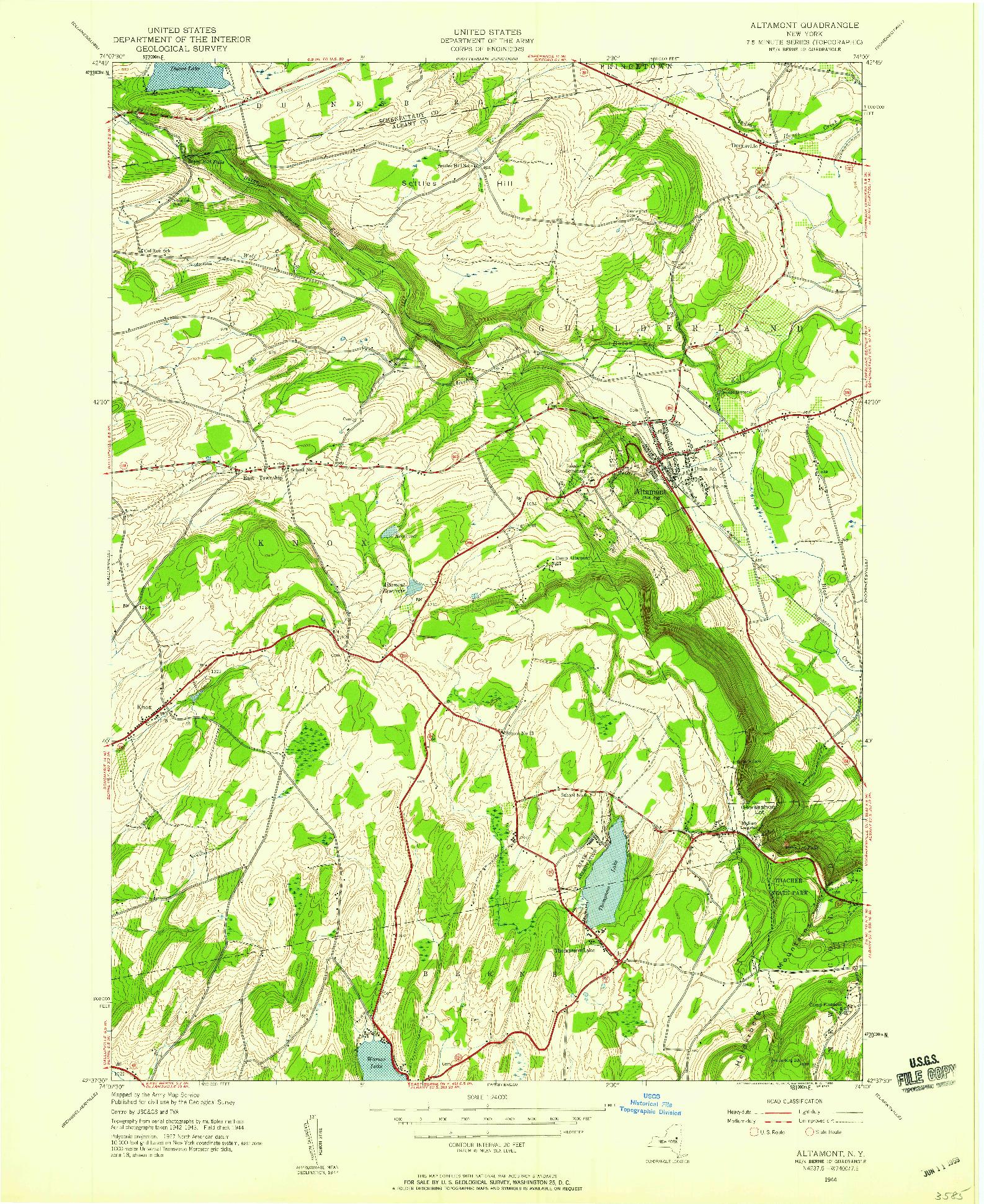 USGS 1:24000-SCALE QUADRANGLE FOR ALTAMONT, NY 1944