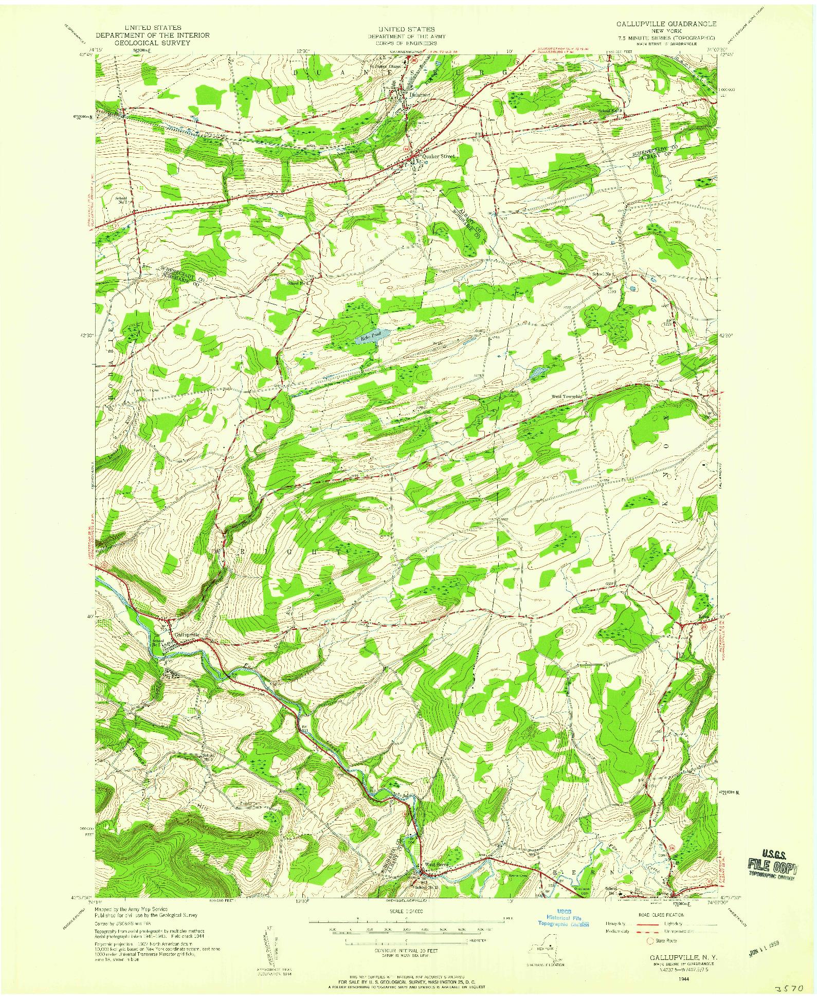 USGS 1:24000-SCALE QUADRANGLE FOR GALLUPVILLE, NY 1944