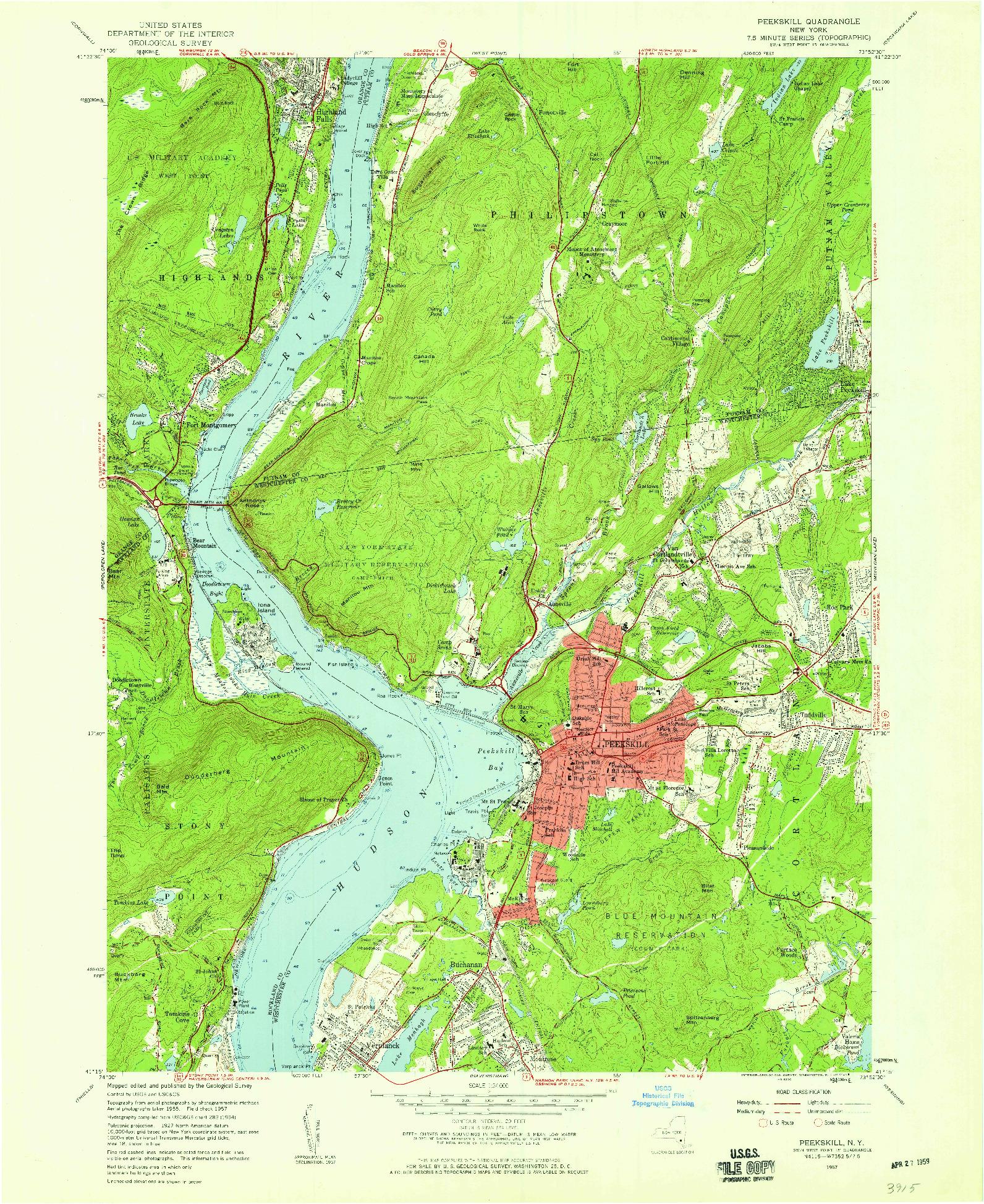 USGS 1:24000-SCALE QUADRANGLE FOR PEEKSKILL, NY 1957