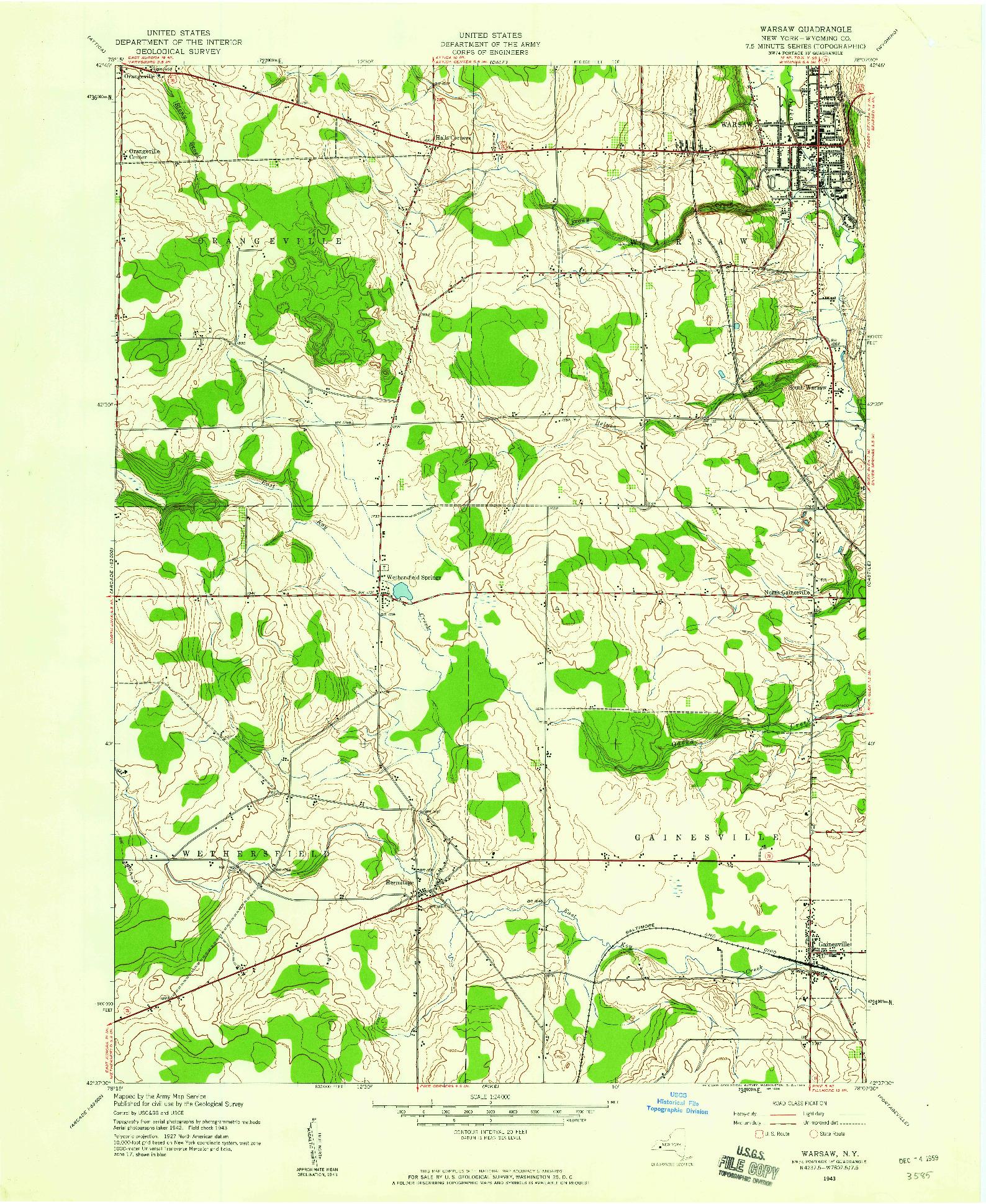 USGS 1:24000-SCALE QUADRANGLE FOR WARSAW, NY 1943