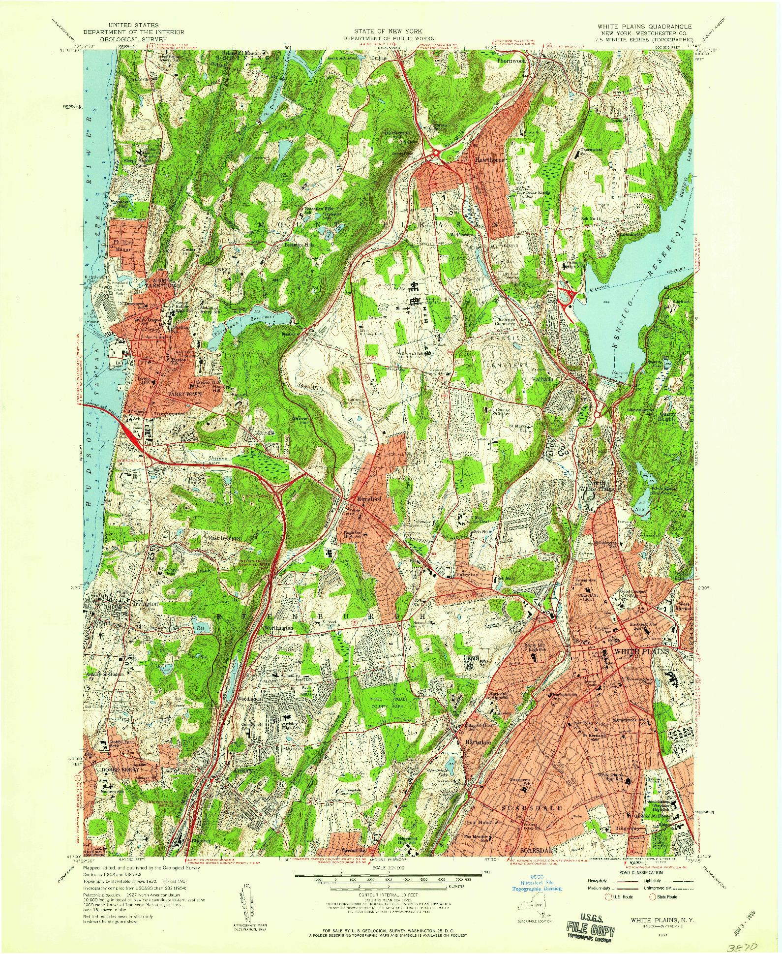 USGS 1:24000-SCALE QUADRANGLE FOR WHITE PLAINS, NY 1957
