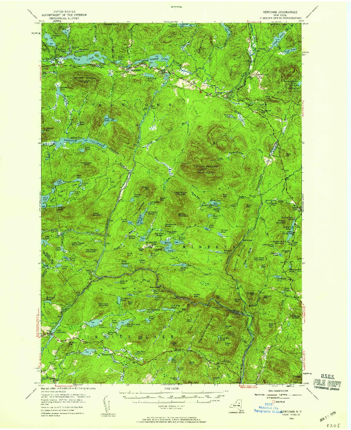 USGS 1:62500-SCALE QUADRANGLE FOR NEWCOMB, NY 1954