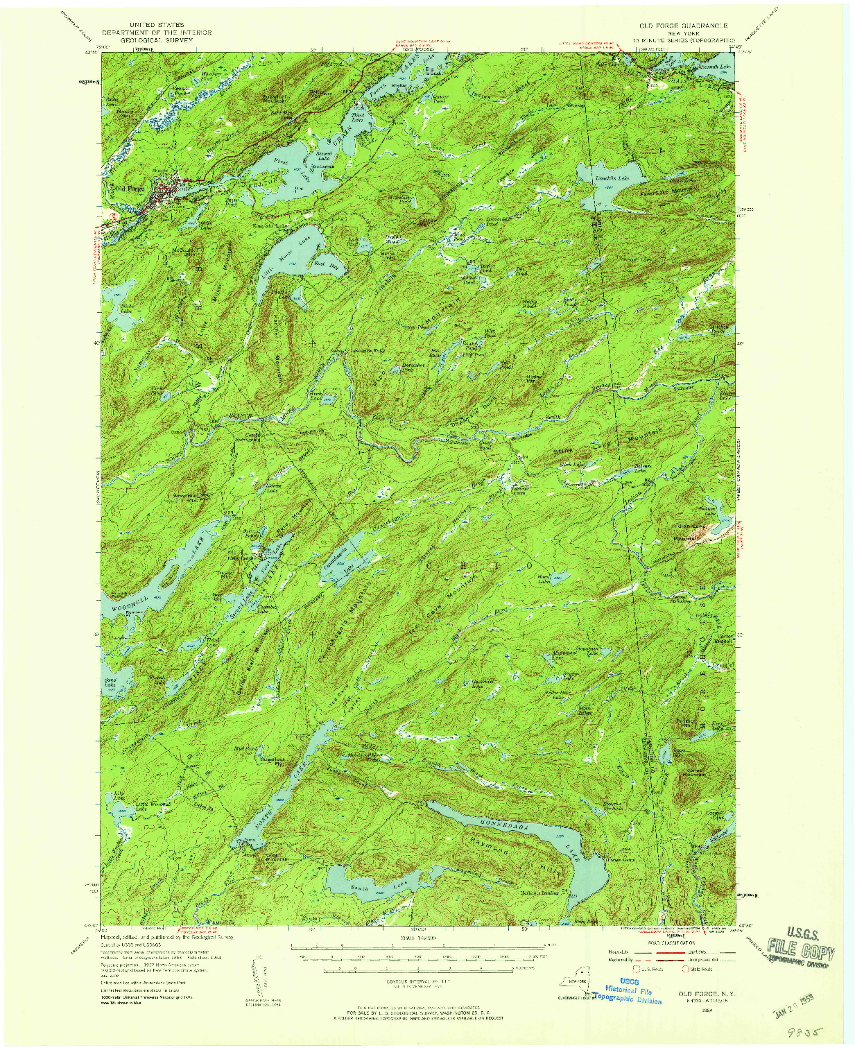 USGS 1:62500-SCALE QUADRANGLE FOR OLD FORGE, NY 1954