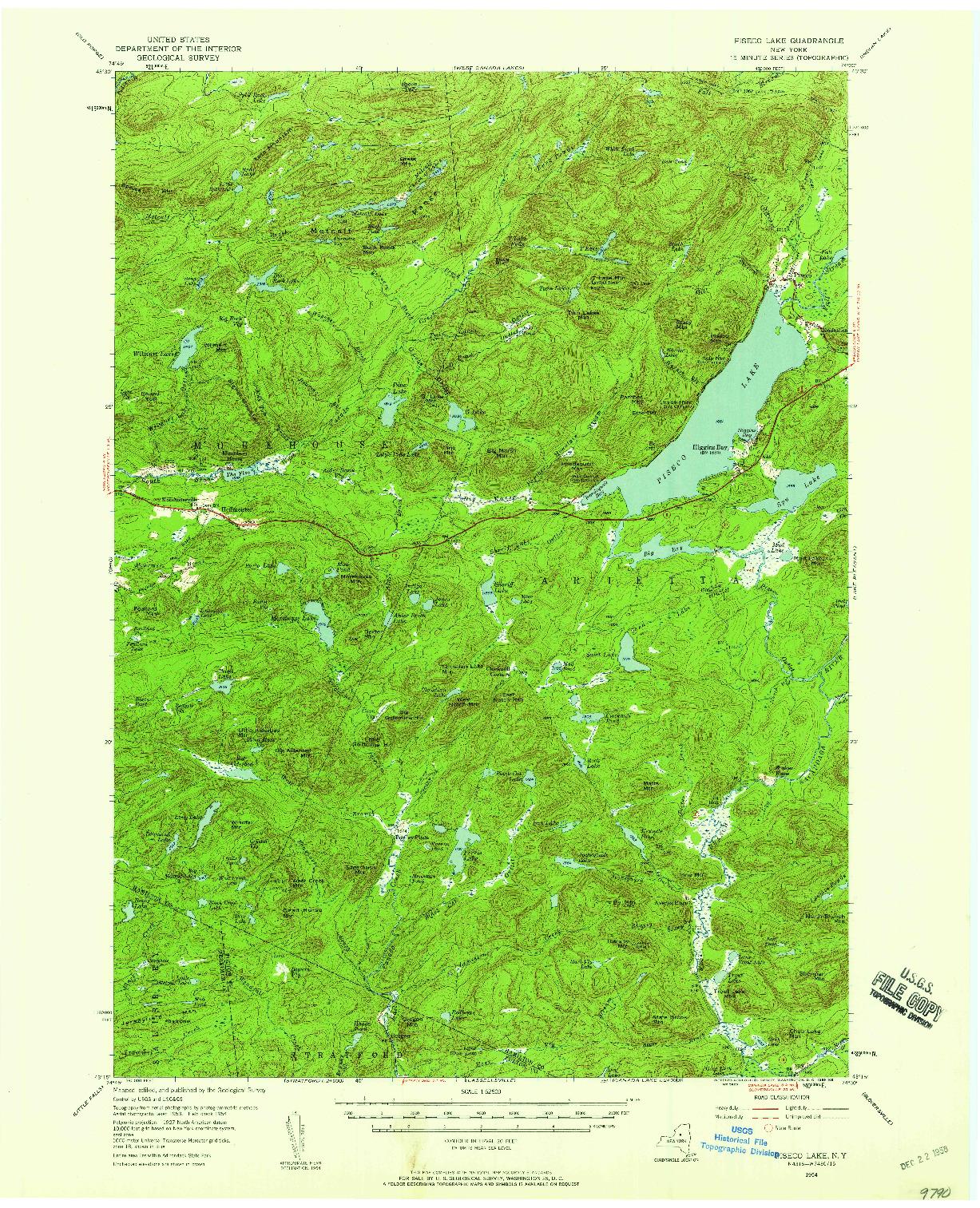 USGS 1:62500-SCALE QUADRANGLE FOR PISECO LAKE, NY 1954