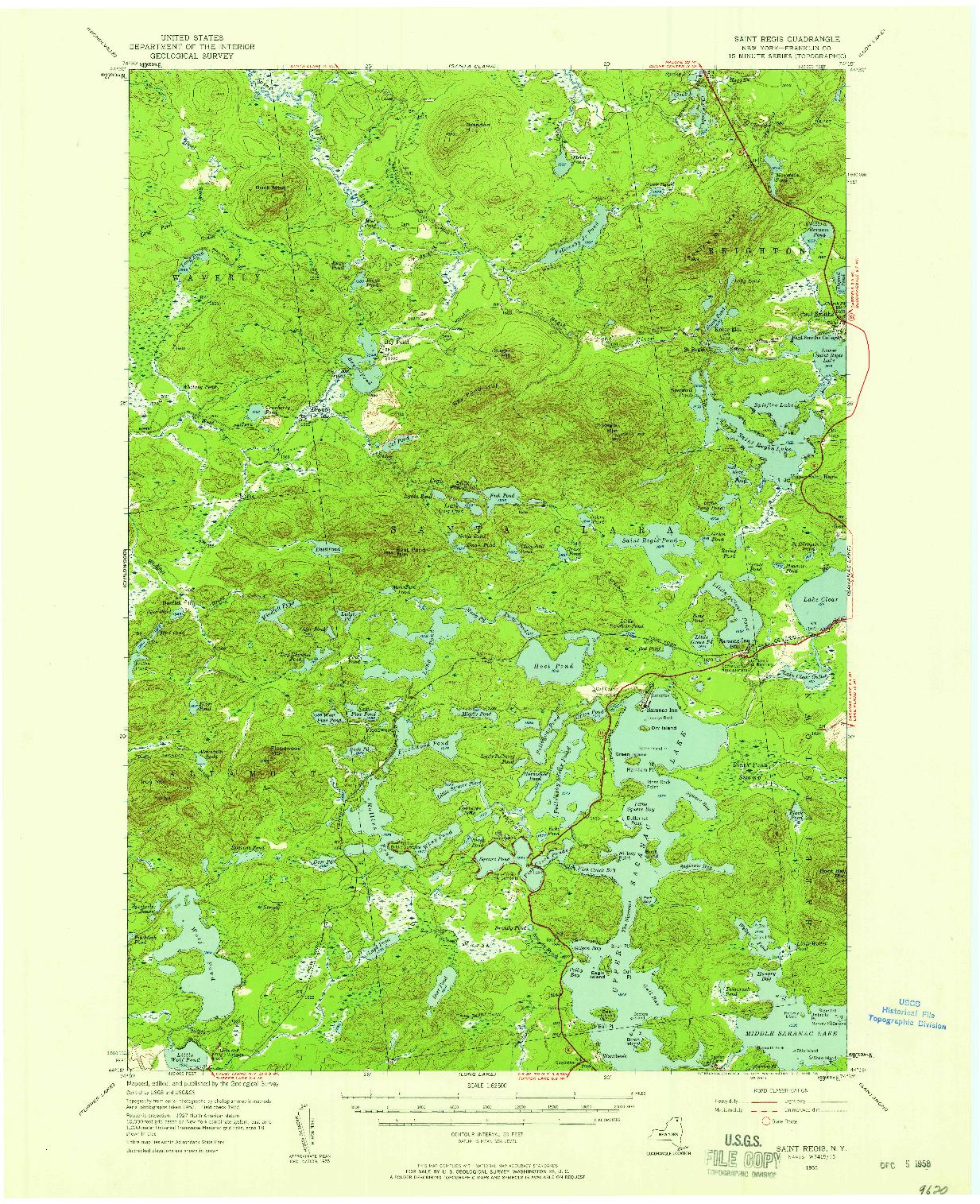 USGS 1:62500-SCALE QUADRANGLE FOR SAINT REGIS, NY 1955