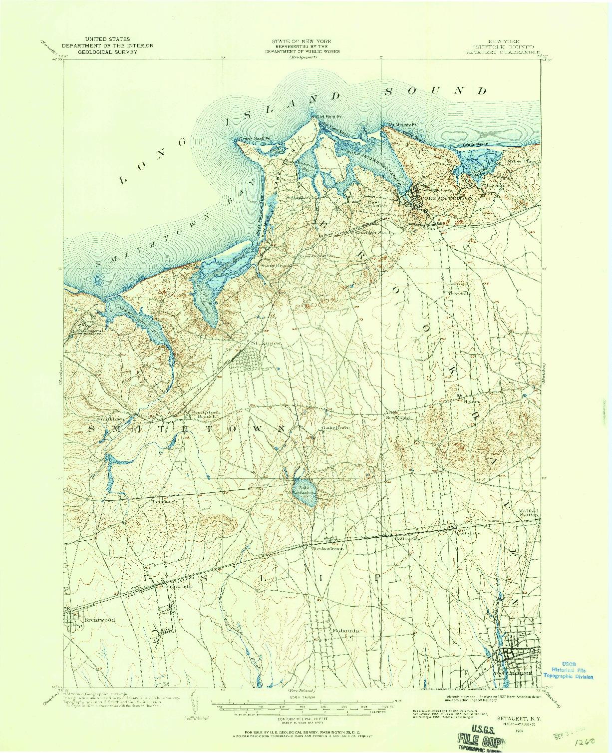 USGS 1:62500-SCALE QUADRANGLE FOR SETAUKET, NY 1902