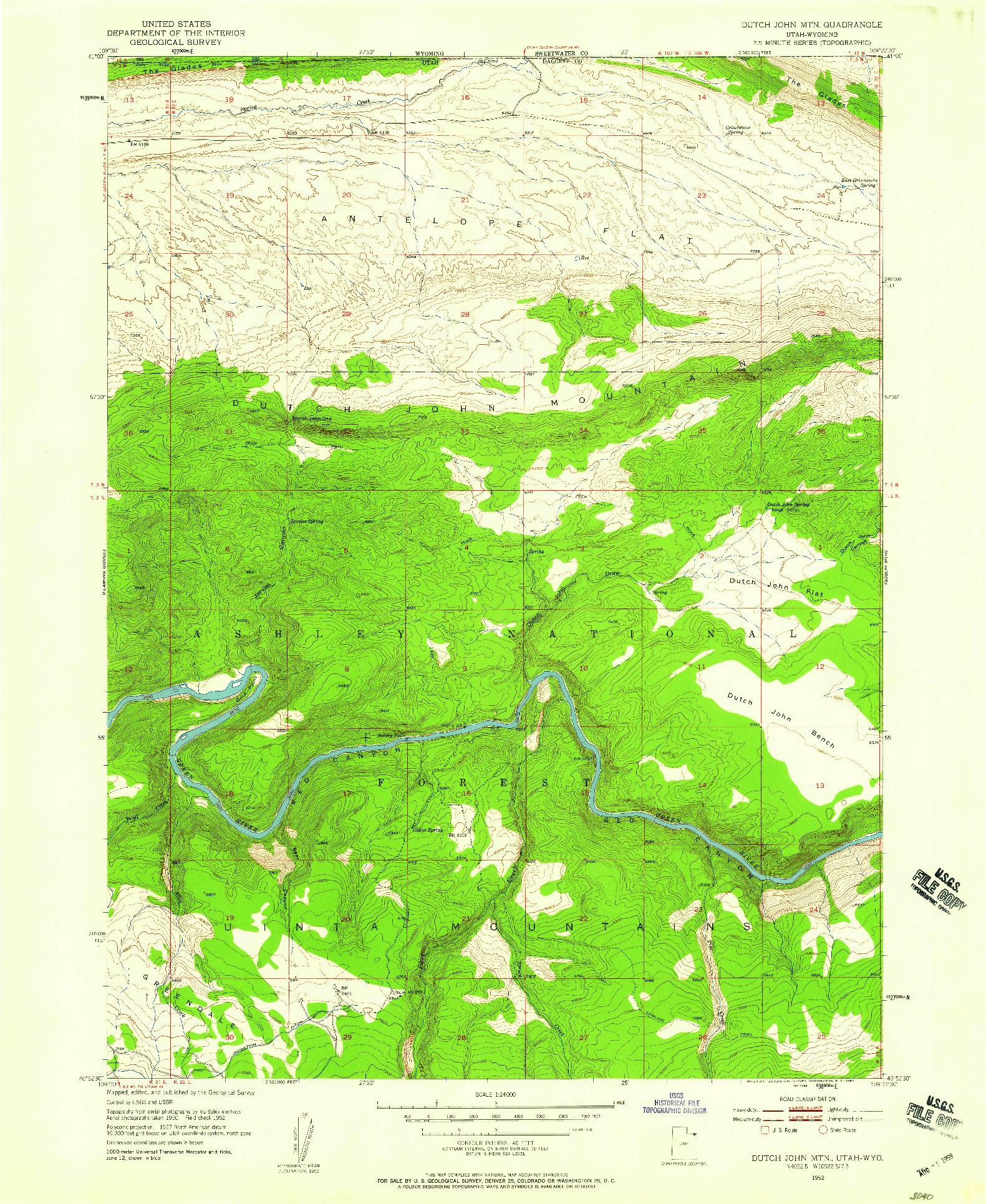 USGS 1:24000-SCALE QUADRANGLE FOR DUTCH JOHN MTN, UT 1952