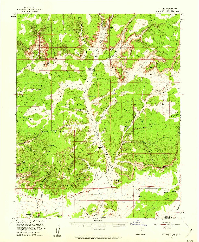 USGS 1:62500-SCALE QUADRANGLE FOR JOHNSON, UT 1954