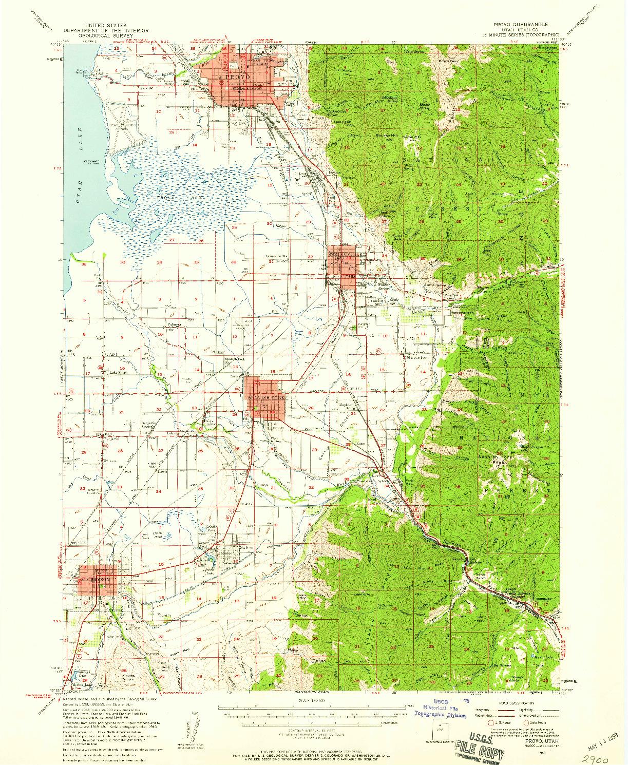 USGS 1:62500-SCALE QUADRANGLE FOR PROVO, UT 1949