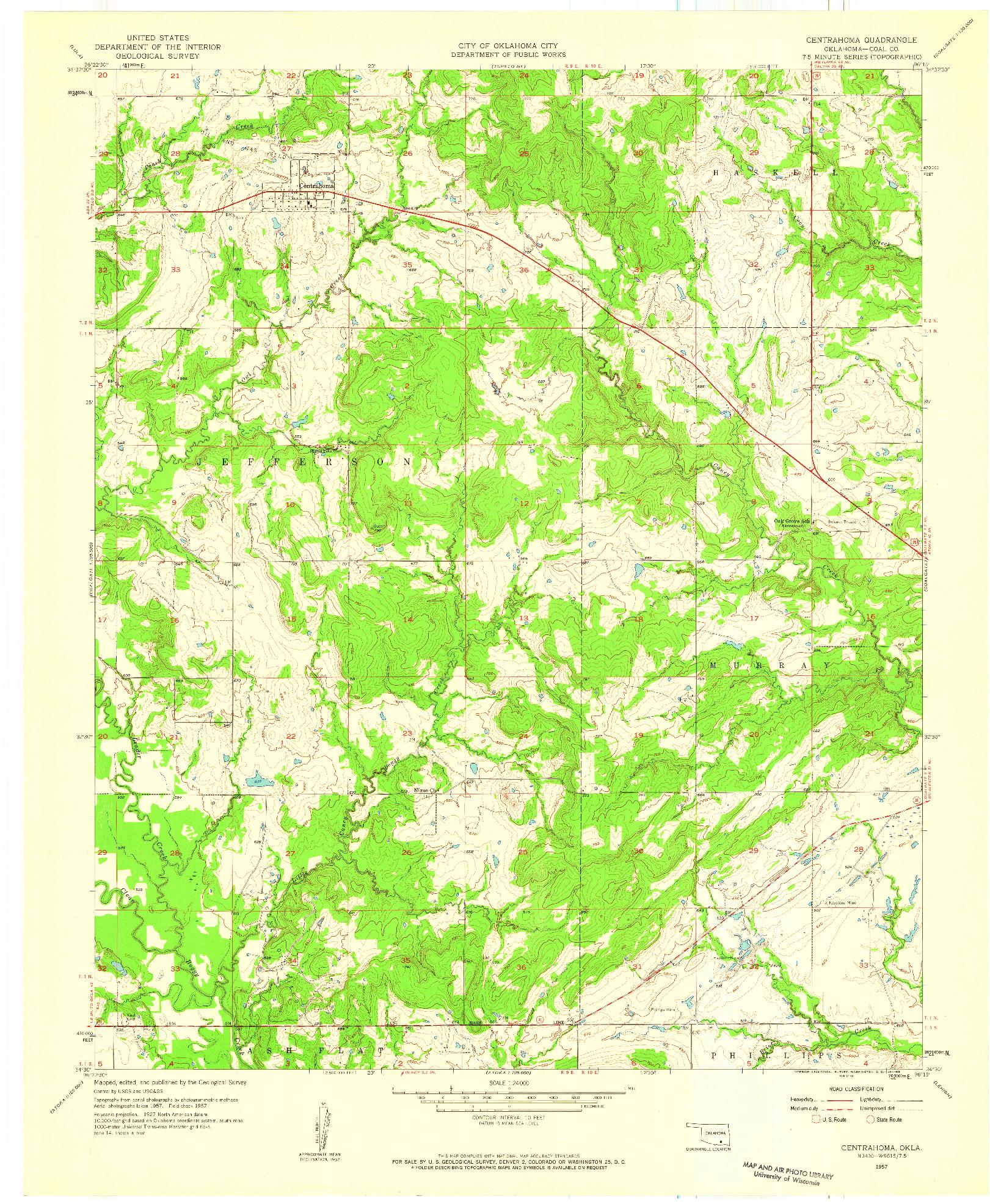 USGS 1:24000-SCALE QUADRANGLE FOR CENTRAHOMA, OK 1957