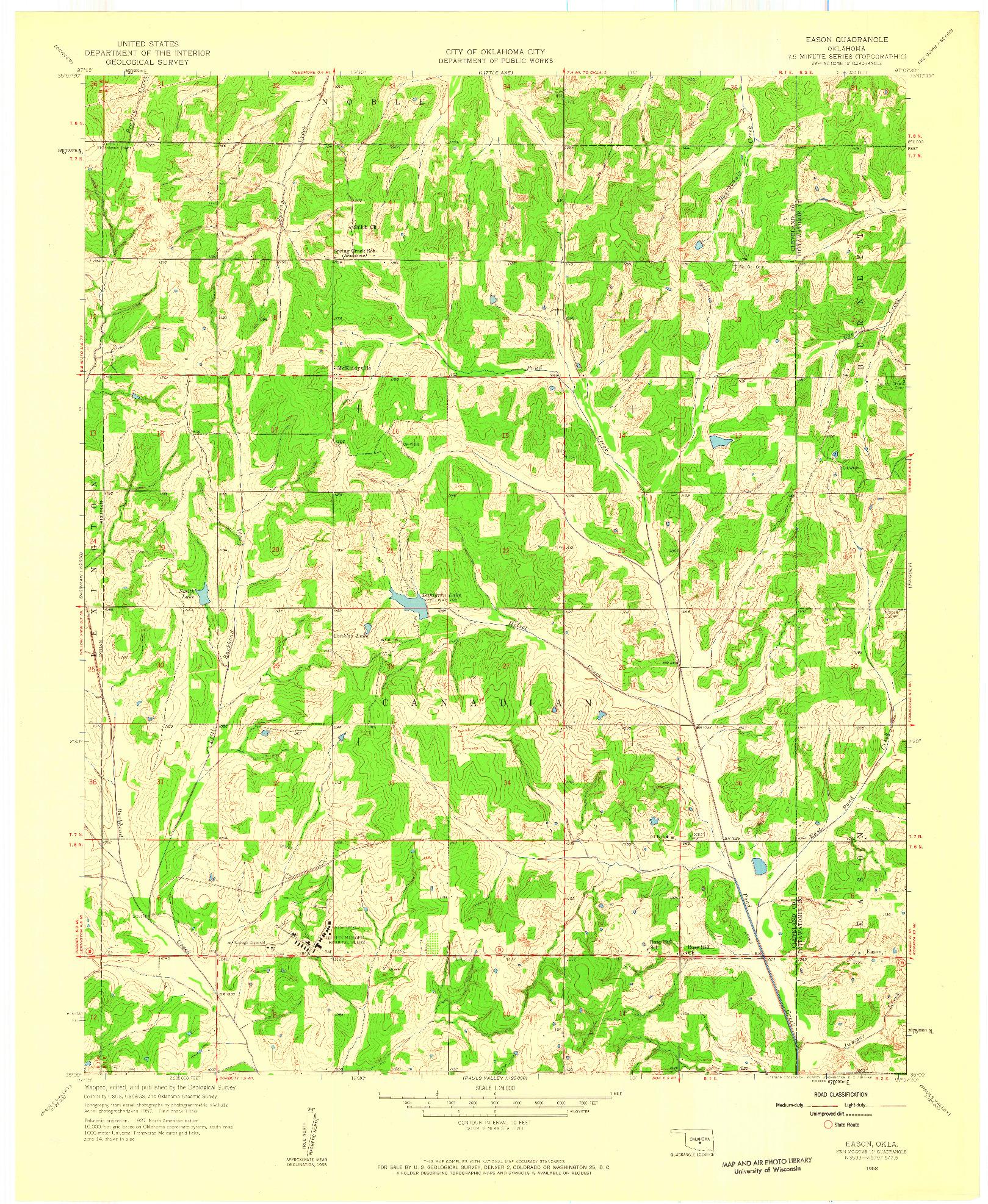 USGS 1:24000-SCALE QUADRANGLE FOR EASON, OK 1958