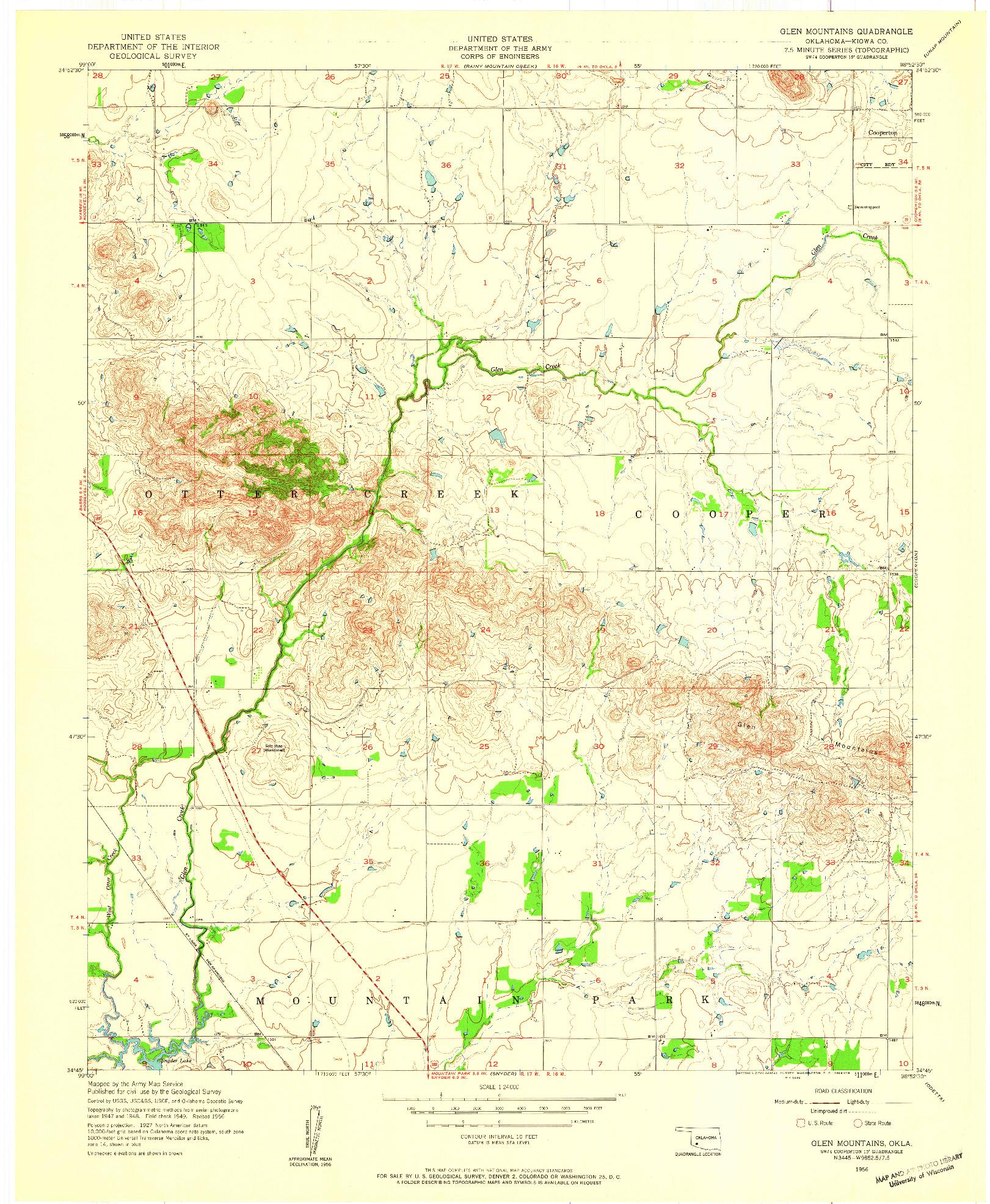 USGS 1:24000-SCALE QUADRANGLE FOR GLEN MOUNTAINS, OK 1956