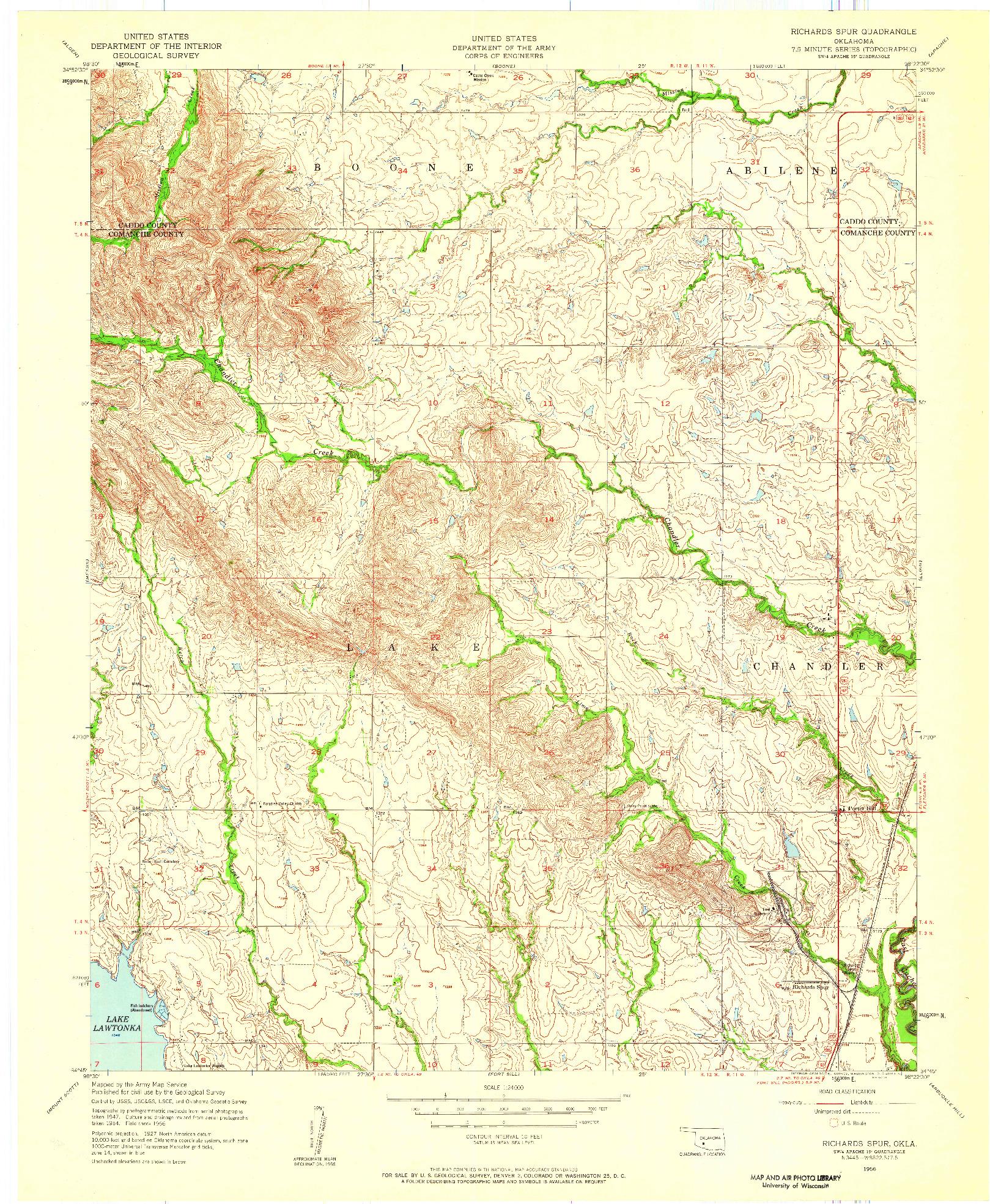 USGS 1:24000-SCALE QUADRANGLE FOR RICHARDS SPUR, OK 1956
