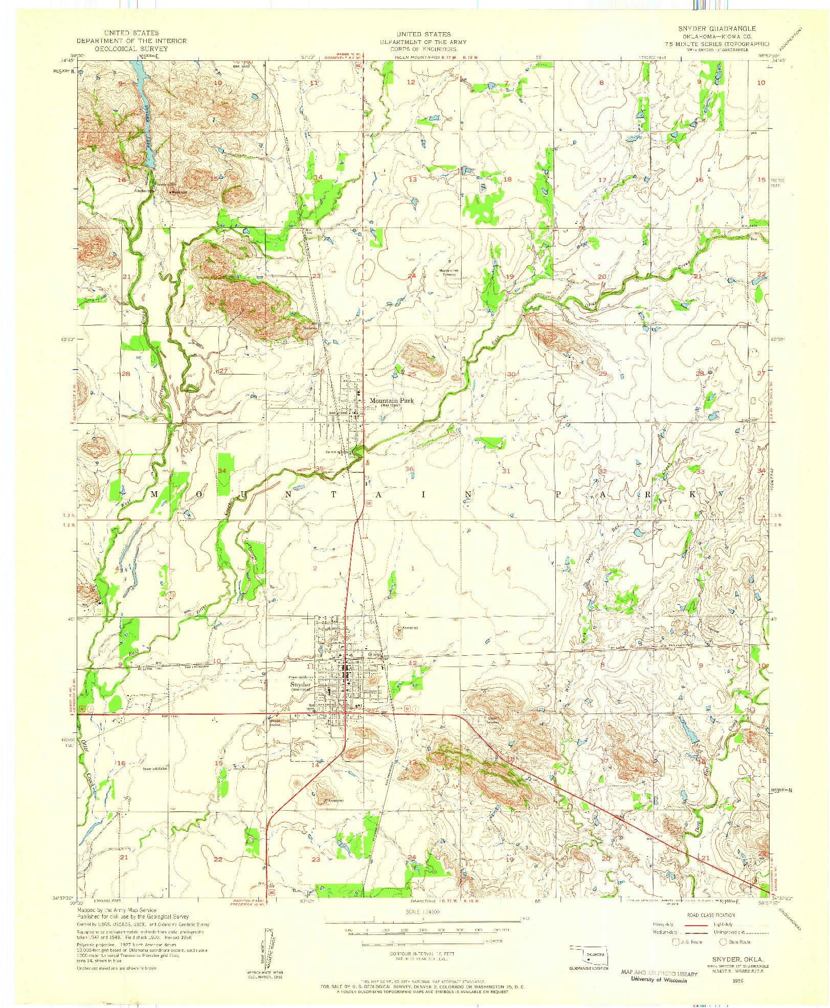 USGS 1:24000-SCALE QUADRANGLE FOR SNYDER, OK 1956